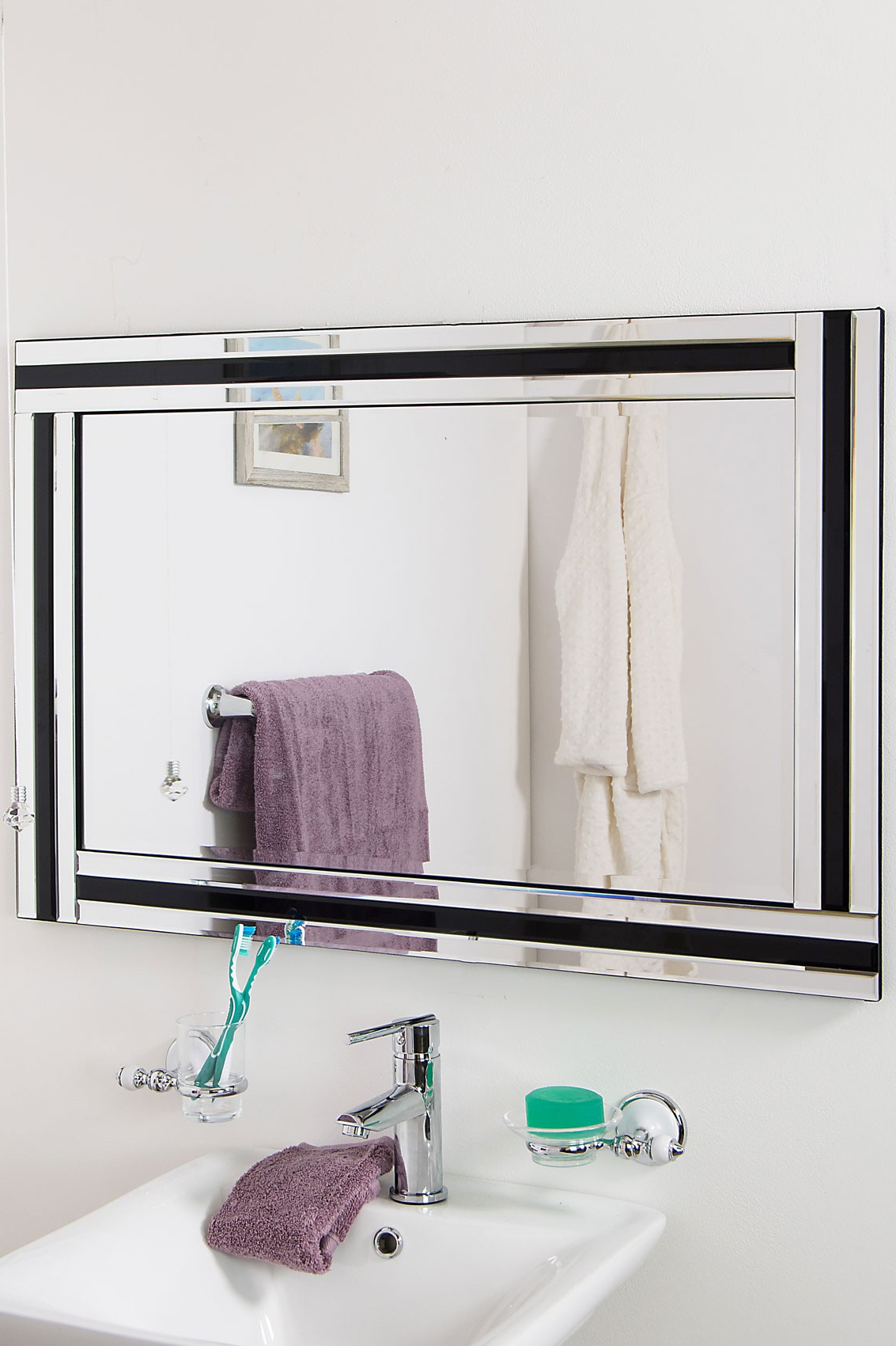 Trendy Black And Silver Wall Mirrors Pertaining To Details About Large Wall Mirror Stylish Black And Silver Triple Edge  Bathroom 1ft11 X 2ft (View 20 of 20)