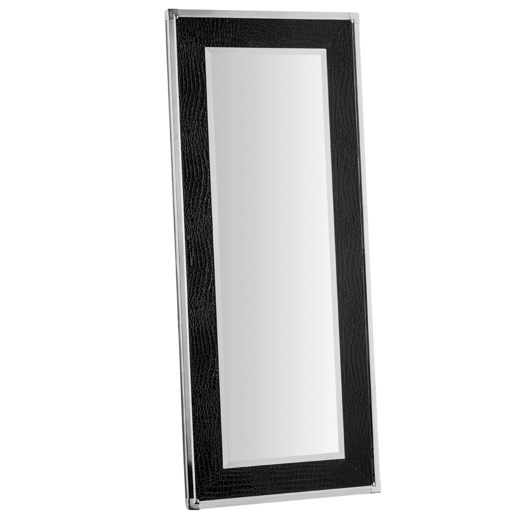 Trendy Black Crocodile Leather Wall Mirror Throughout Leather Wall Mirrors (View 9 of 20)