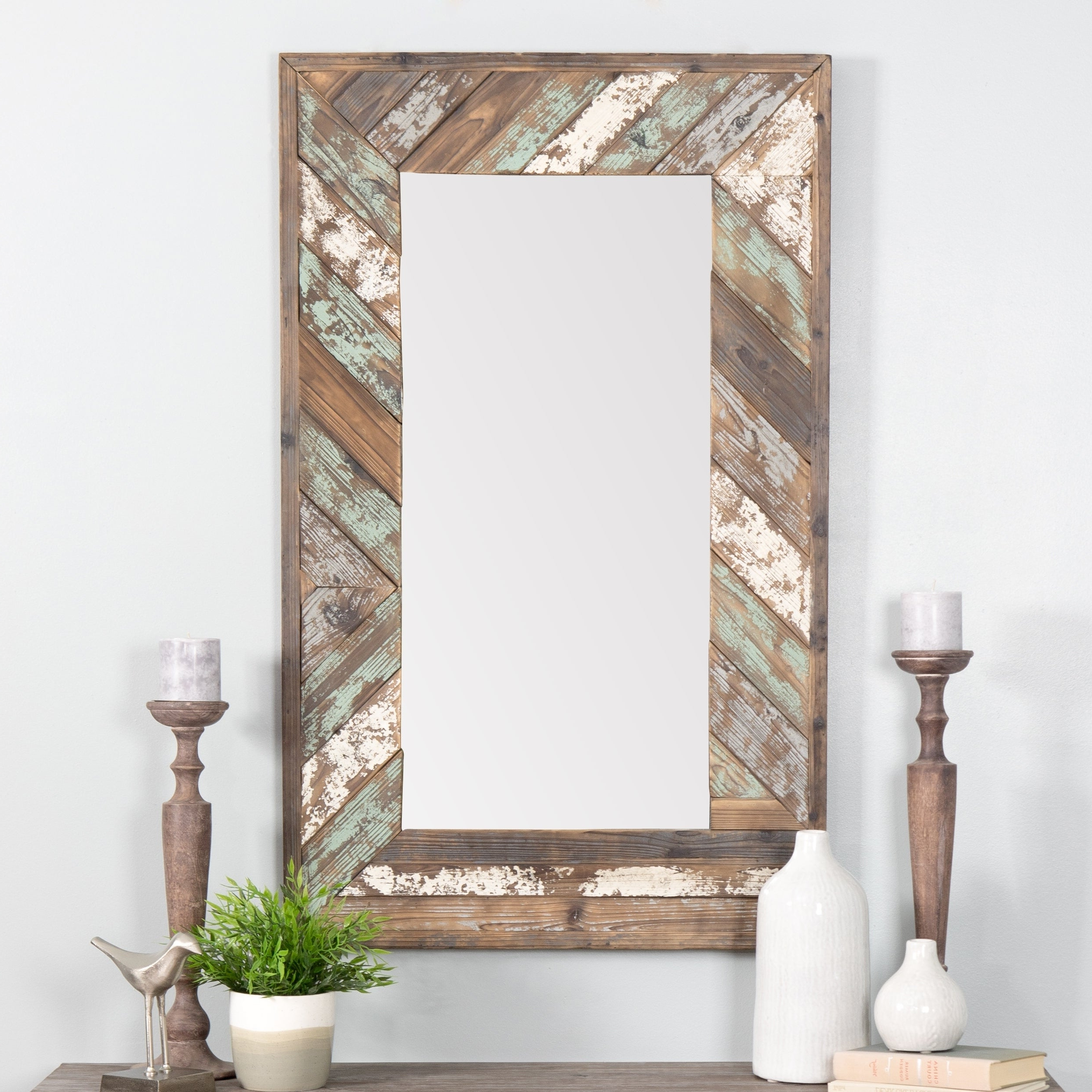 Trendy Brogan Distressed Wood Slat Wall Mirror – Multi Within Distressed Wood Wall Mirrors (Gallery 2 of 20)