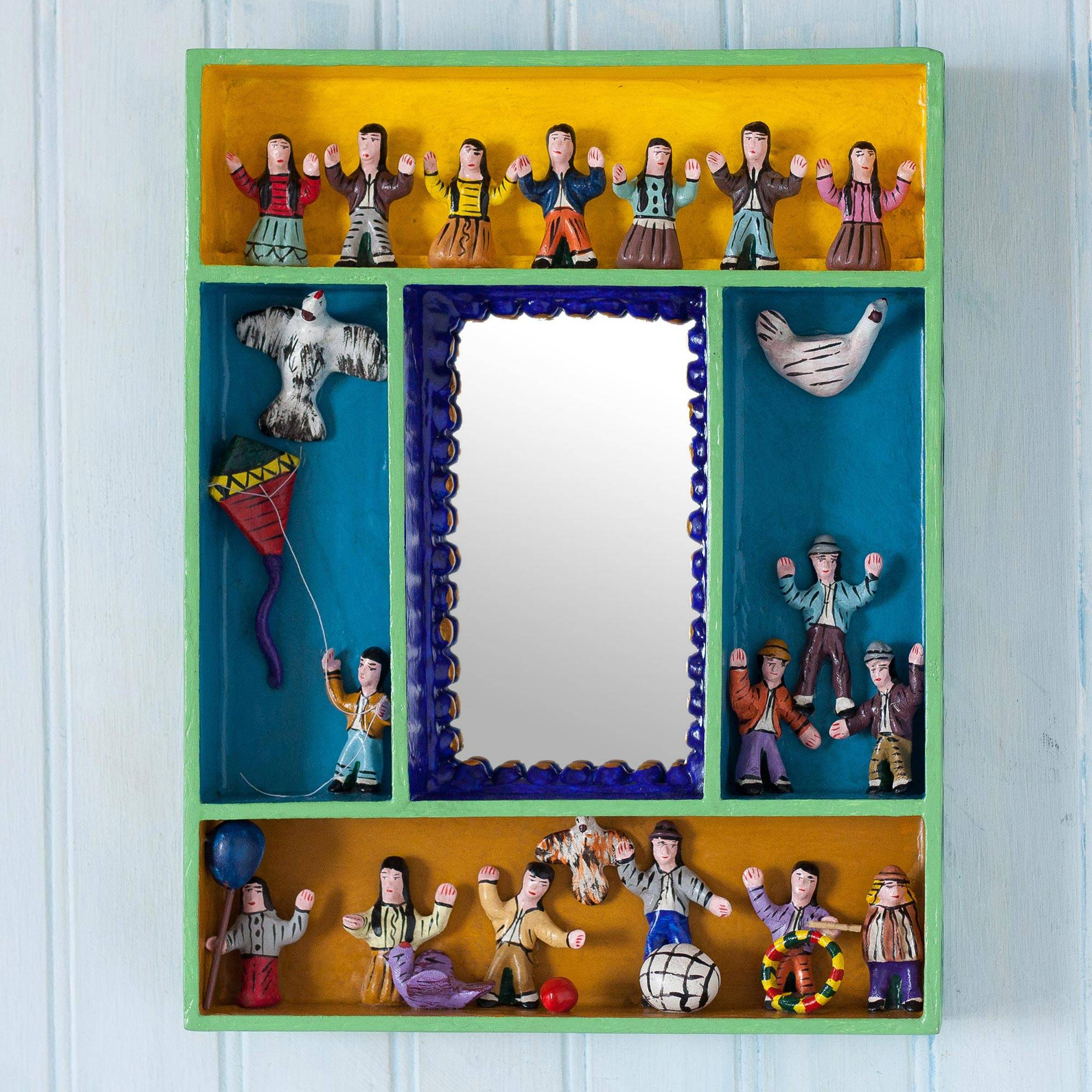 Trendy Children Wall Mirrors With Hand Painted Wood Retablo Wall Mirror Crafted In Peru, 'children At Play' (View 17 of 20)