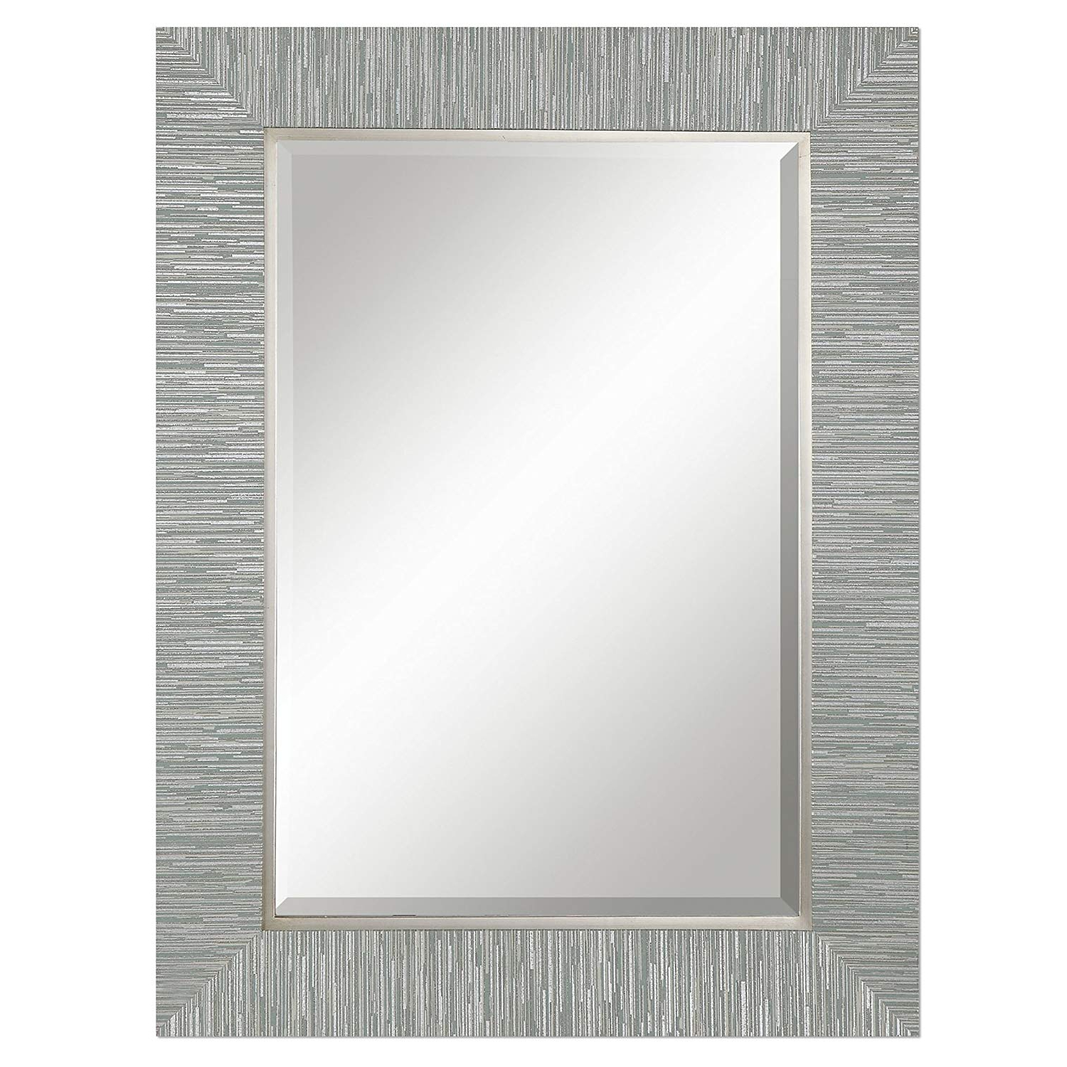 Trendy Coastal Style Wall Mirrors Regarding Amazon: Zinc Decor Blue Gray Silver Striped Wood Wall Mirror (View 6 of 20)