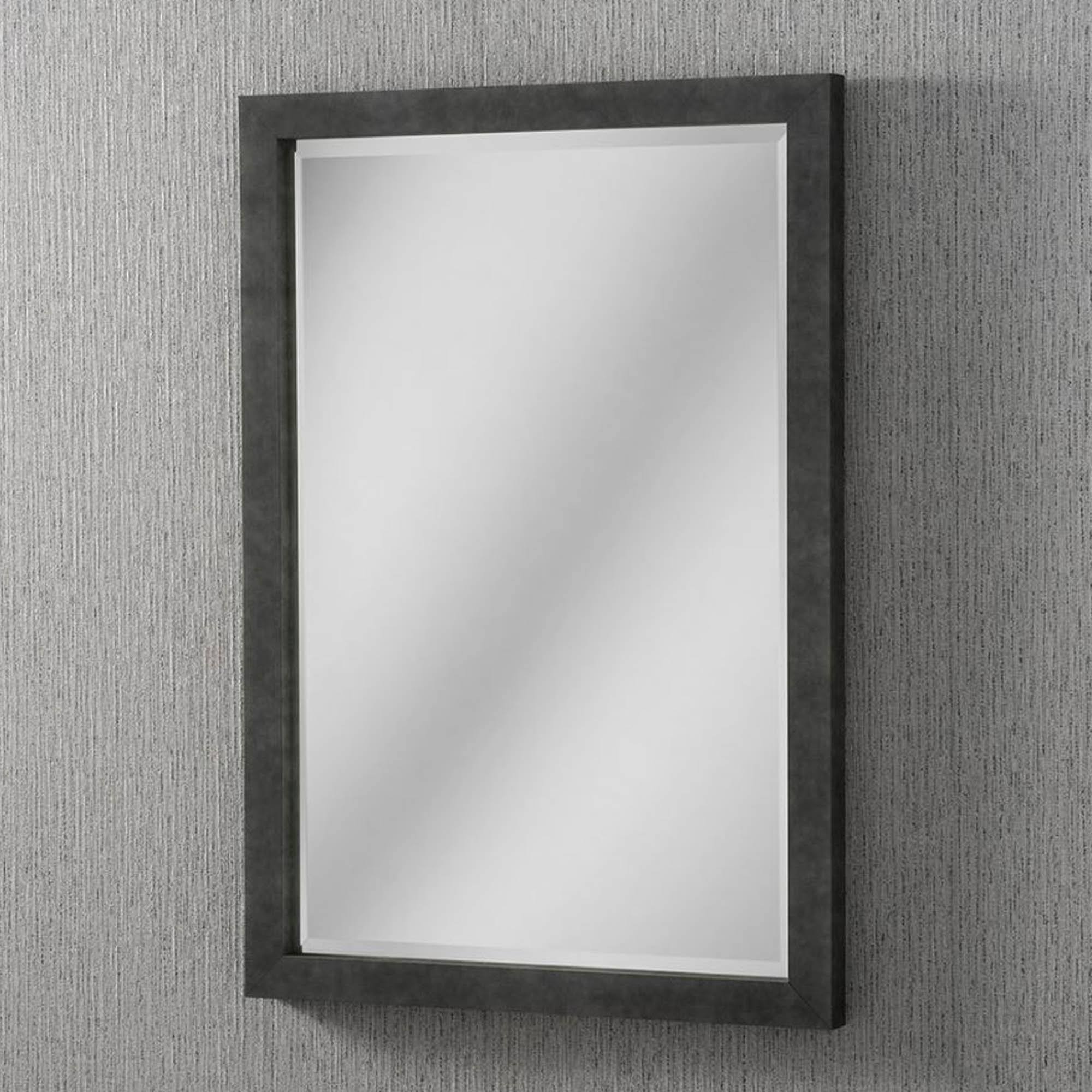 Trendy Dark Concrete Rectangular Wall Mirror In Black Wall Mirrors (View 9 of 20)
