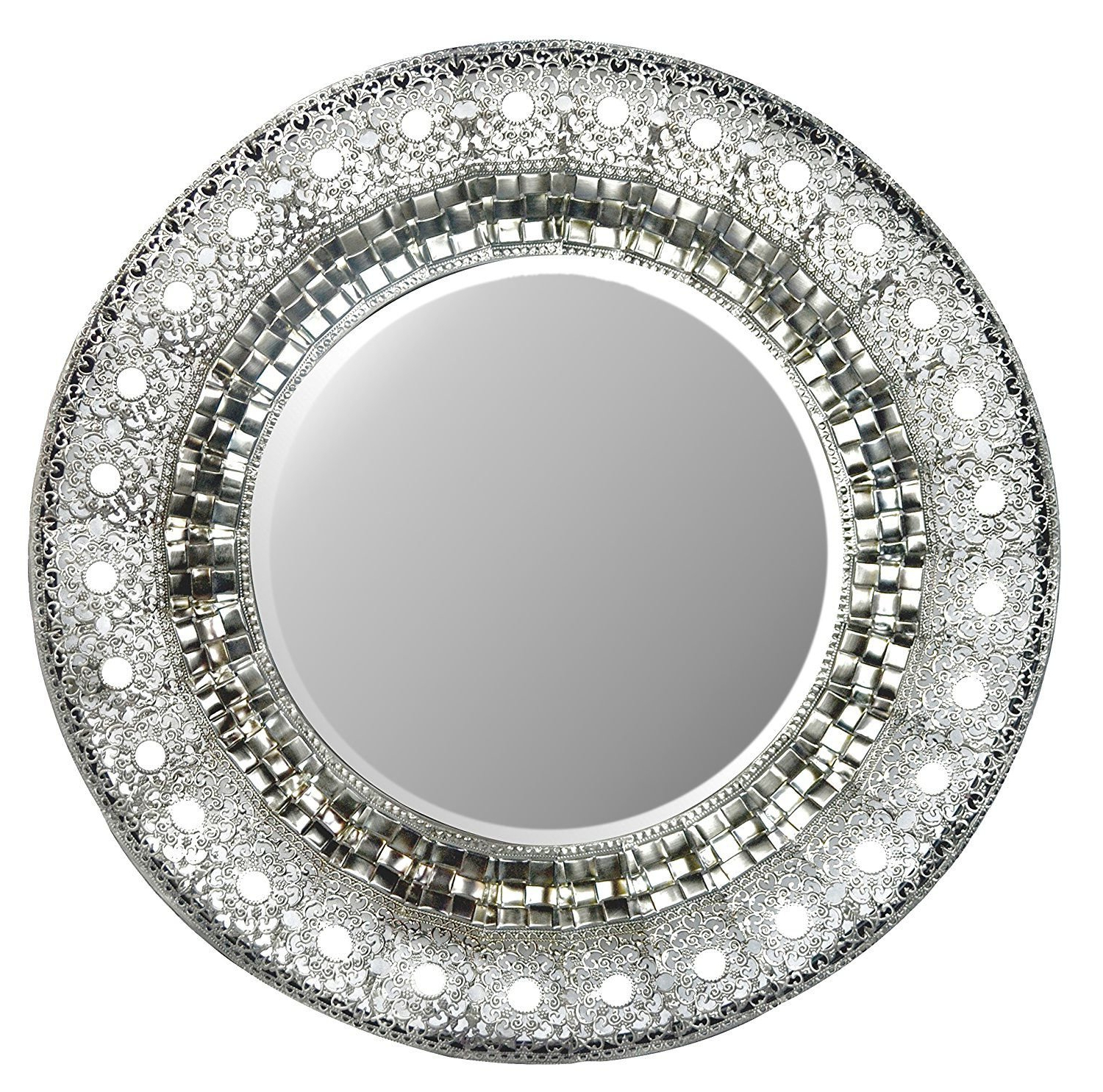 "Trendy Decorative Round Wall Mirrors Throughout Lulu Decor, 19"" Oriental Round Silver Metal Beveled Wall Mirror, Decorative Mirror For Home & Office (oriental 19"") (View 10 of 20)"