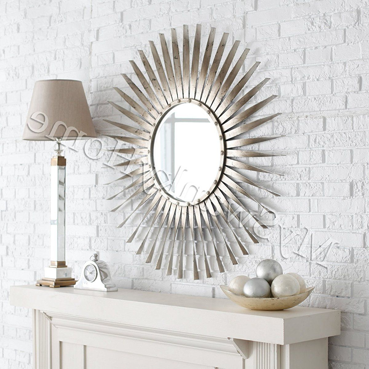 Trendy Extra Large Silver Leaf Sunburst Starburst Wall Mirror (Gallery 4 of 20)