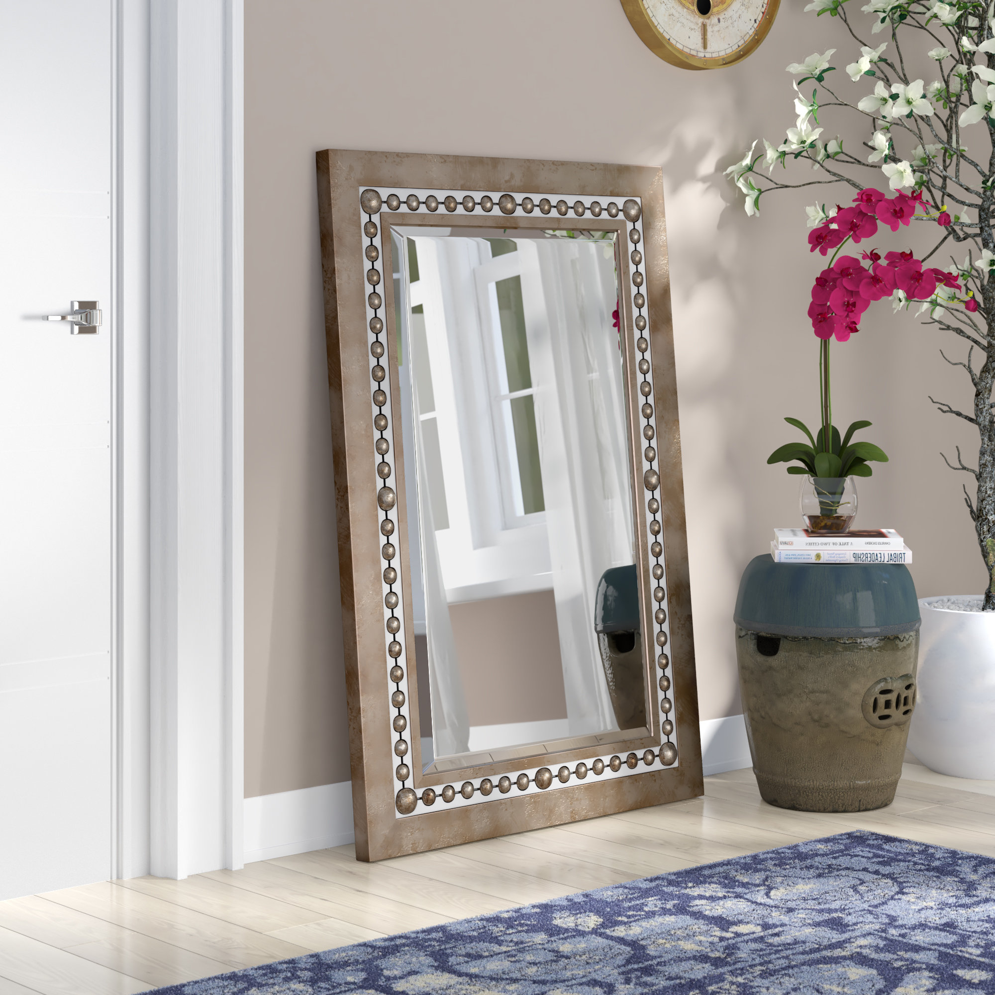 Trendy Global Inspired Metal Wall Mirror With Regard To Lajoie Rustic Accent Mirrors (View 15 of 20)