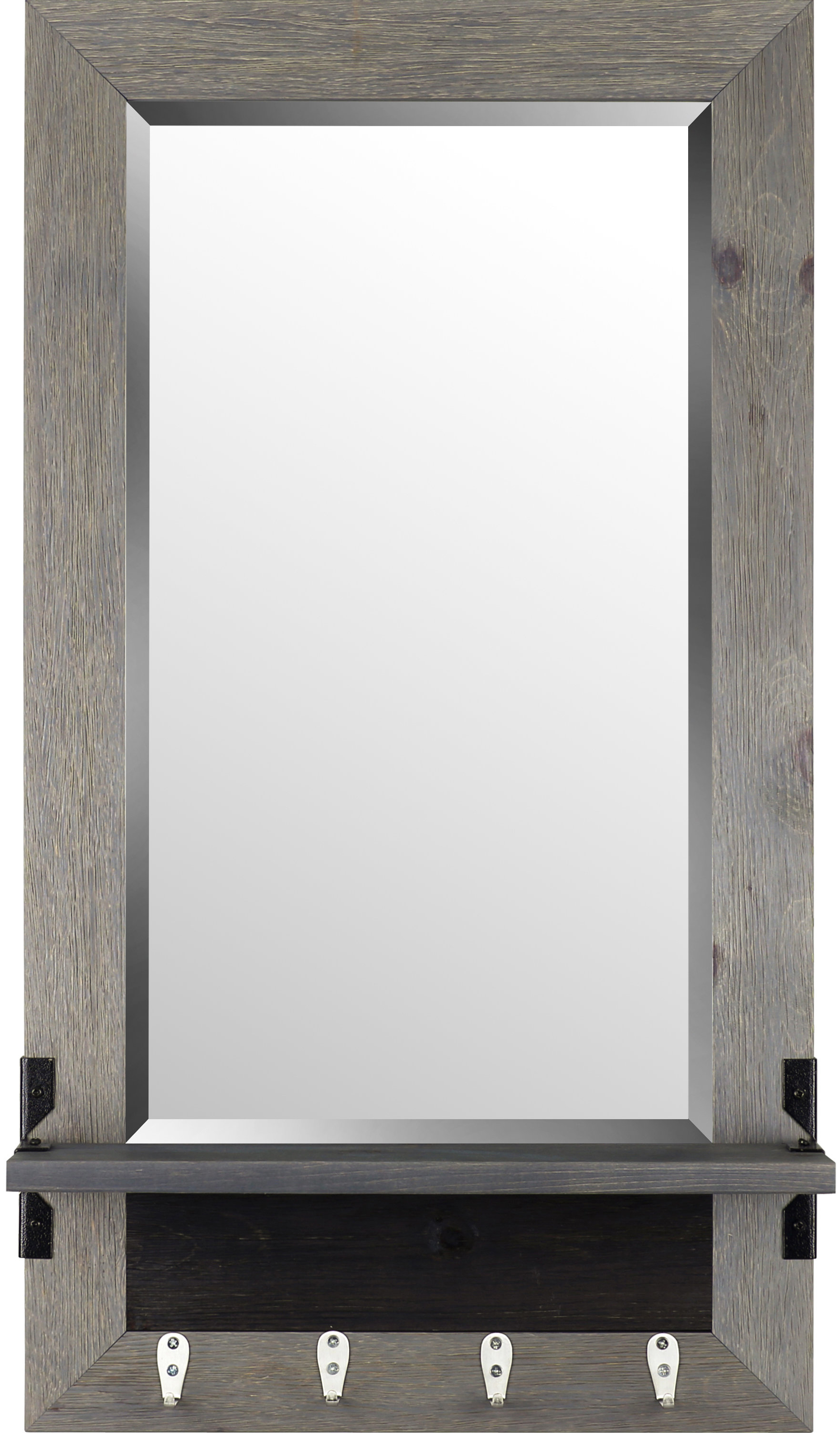 Trendy Hallas Wall Organizer Mirrors Inside Shelf Wood Modern & Contemporary Beveled Shelves Accent Mirror (View 2 of 20)