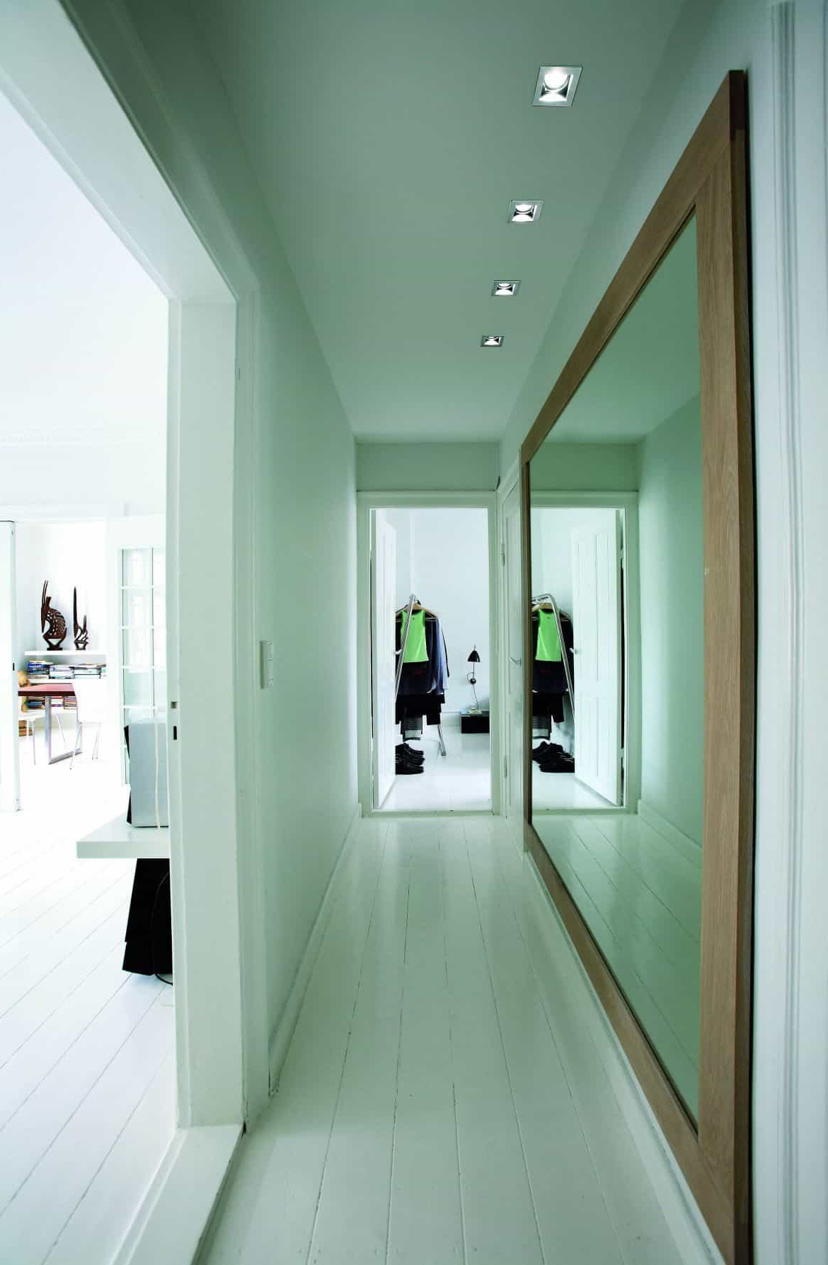 Trendy Hallway With Large Framed Wall Mirror In White Walls Pertaining To Hallway Wall Mirrors (View 2 of 20)