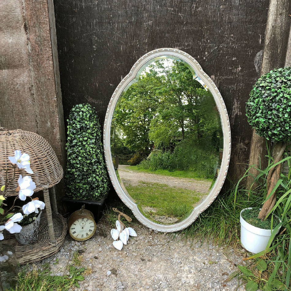 Trendy Hand Painted Wall Mirrors Regarding Vintage Flower Shaped Oval Paris Grey Hand Painted Scandiavian Country Wall Mirror (View 15 of 20)