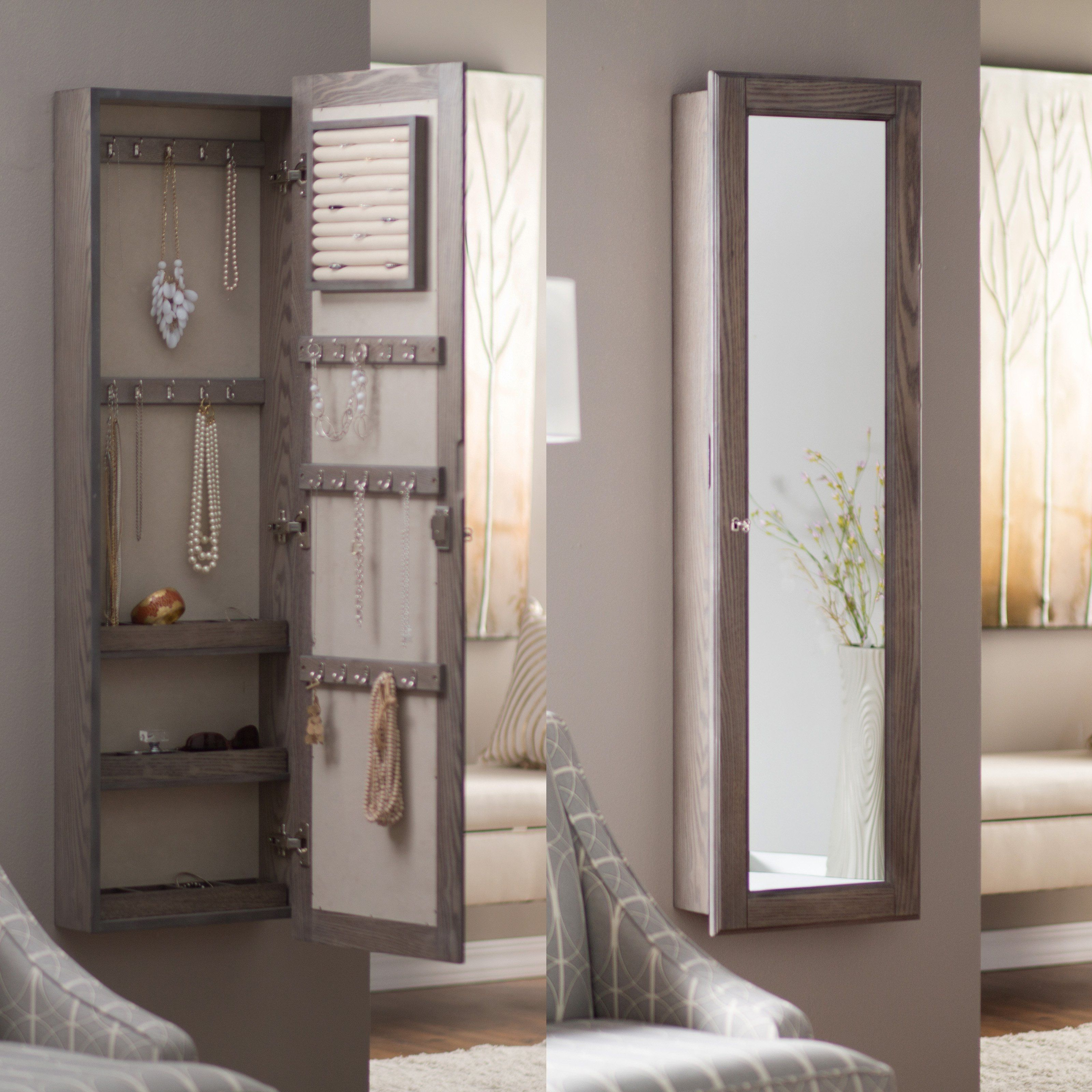Trendy Jewelry Wall Mirrors Intended For Full Length Wall Mirror Jewelry Armoire (Gallery 2 of 20)