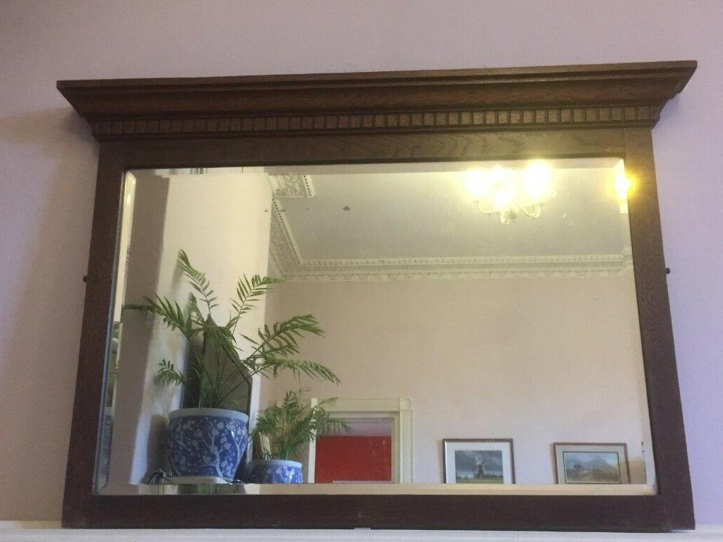 Trendy Large Antique Rectangular Wooden Wall Mirror, With Bevelled Mirror Glass (View 19 of 20)