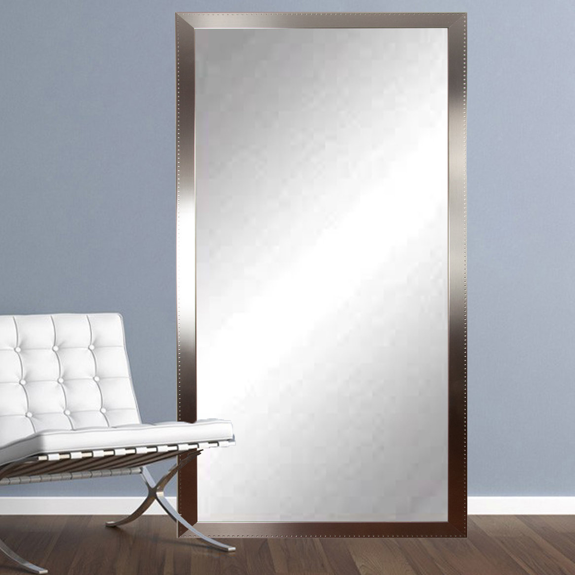 Trendy Leaning Wall Mirrors With Regard To Embossed Steel Leaning Wall Mirror (View 18 of 20)