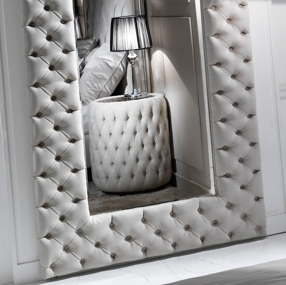 Trendy Leather Wall Mirrors With Regard To Large Modern Button Upholstered Nubuck Leather Wall Mirror (View 15 of 20)