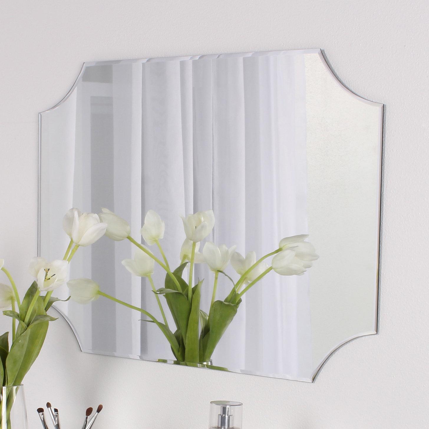 Trendy Lidya Frameless Beveled Wall Mirrors Intended For Reign Frameless Rectangle Scalloped Beveled Wall Mirror (View 7 of 20)