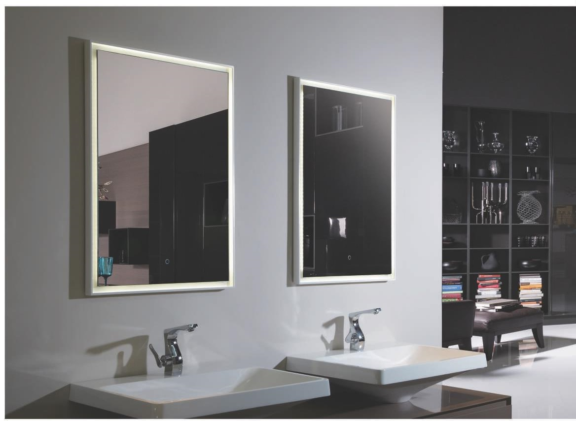 Trendy Lighted Bathroom Wall Mirrors Throughout Fiori Lighted Vanity Mirror Led Bathroom Mirror (View 18 of 20)