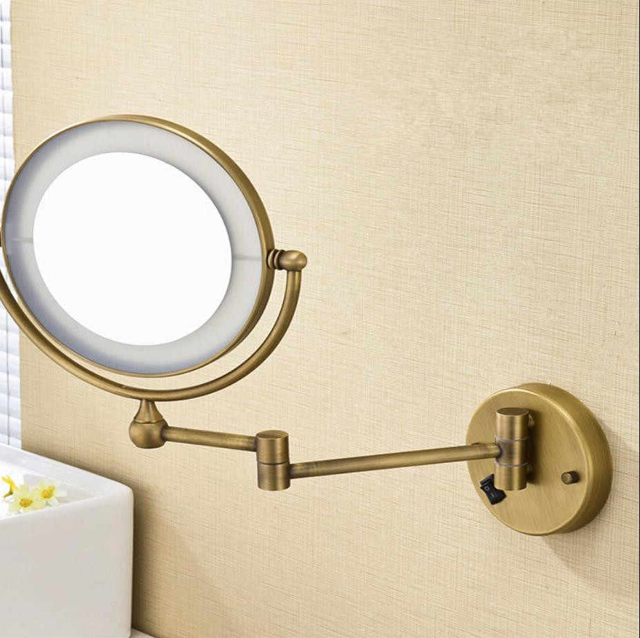 Trendy Magnifying Wall Mirrors For Bathroom Inside Bath Mirror Bronze Wall Mounted 8 Inch Brass 3X/1X Magnifying Mirror Led Light Folding Makeup Mirror Cosmetic Mirror Lady Gift (Gallery 16 of 20)