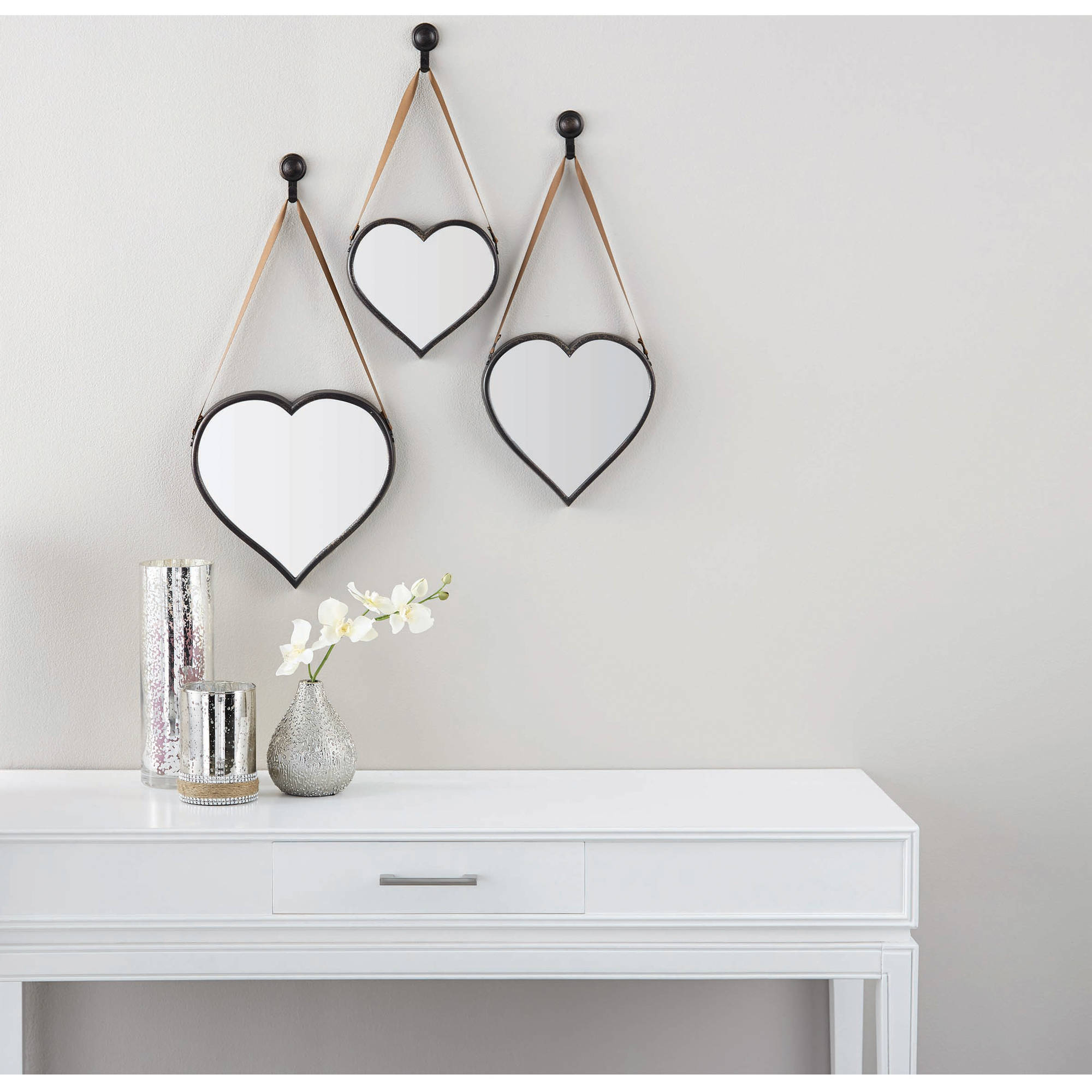 Trendy Mainstays 3 Piece Heart Mirror Set Intended For Heart Wall Mirrors (View 18 of 20)