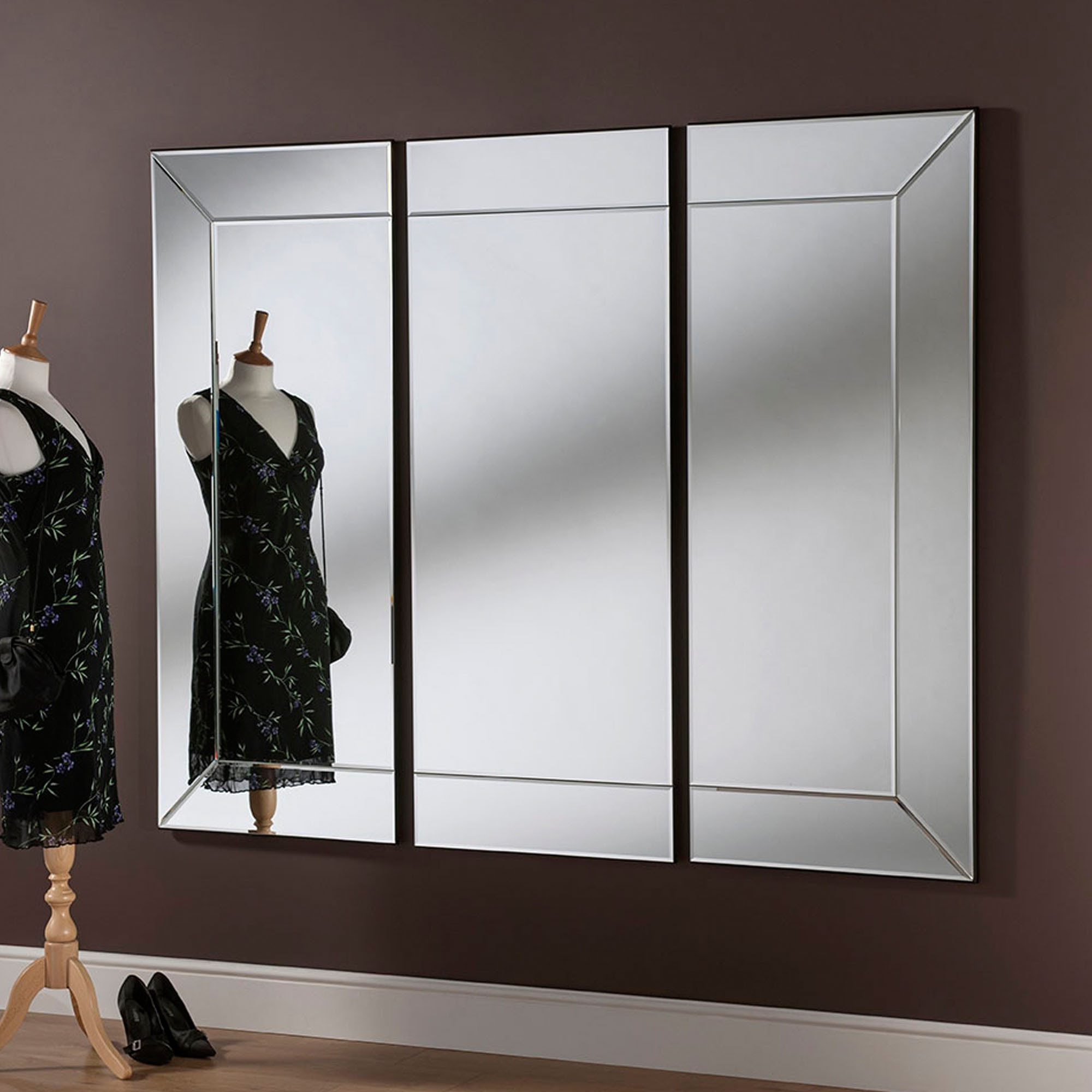 Trendy Mayfair 3 Panel Wall Mirror Intended For Panel Wall Mirrors (View 10 of 20)