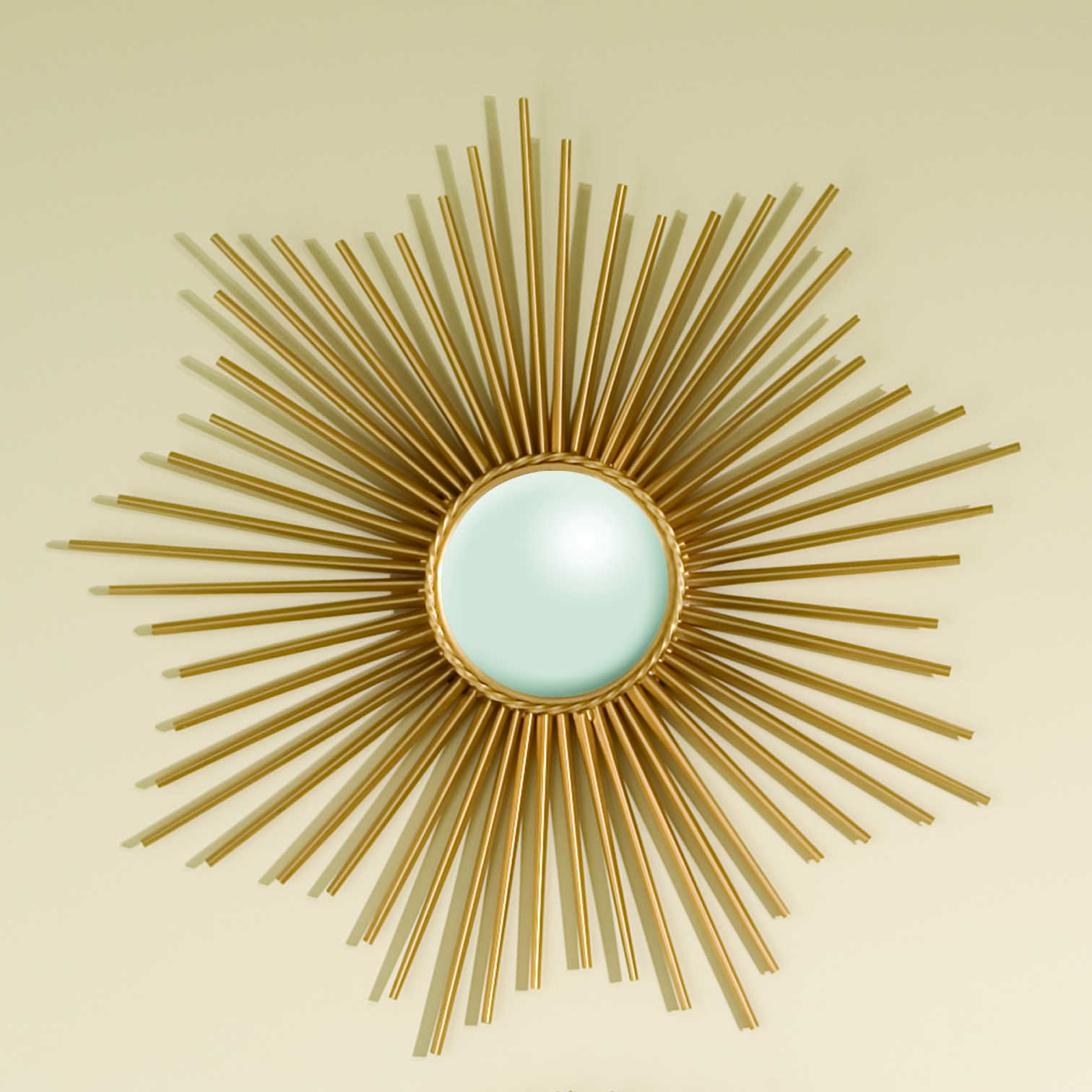 Trendy Mini Wall Mirrors Throughout Global Views Mini Sunburst Gold 24'' Round Wall Mirror (View 9 of 20)