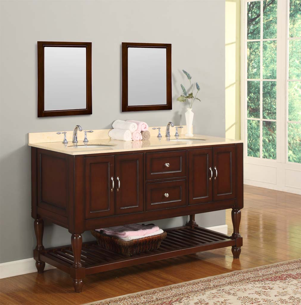 Trendy Mission Style Wall Mirrors In Classic Bathroom Mission Design Double Sink And Wall Mirror (Gallery 11 of 20)