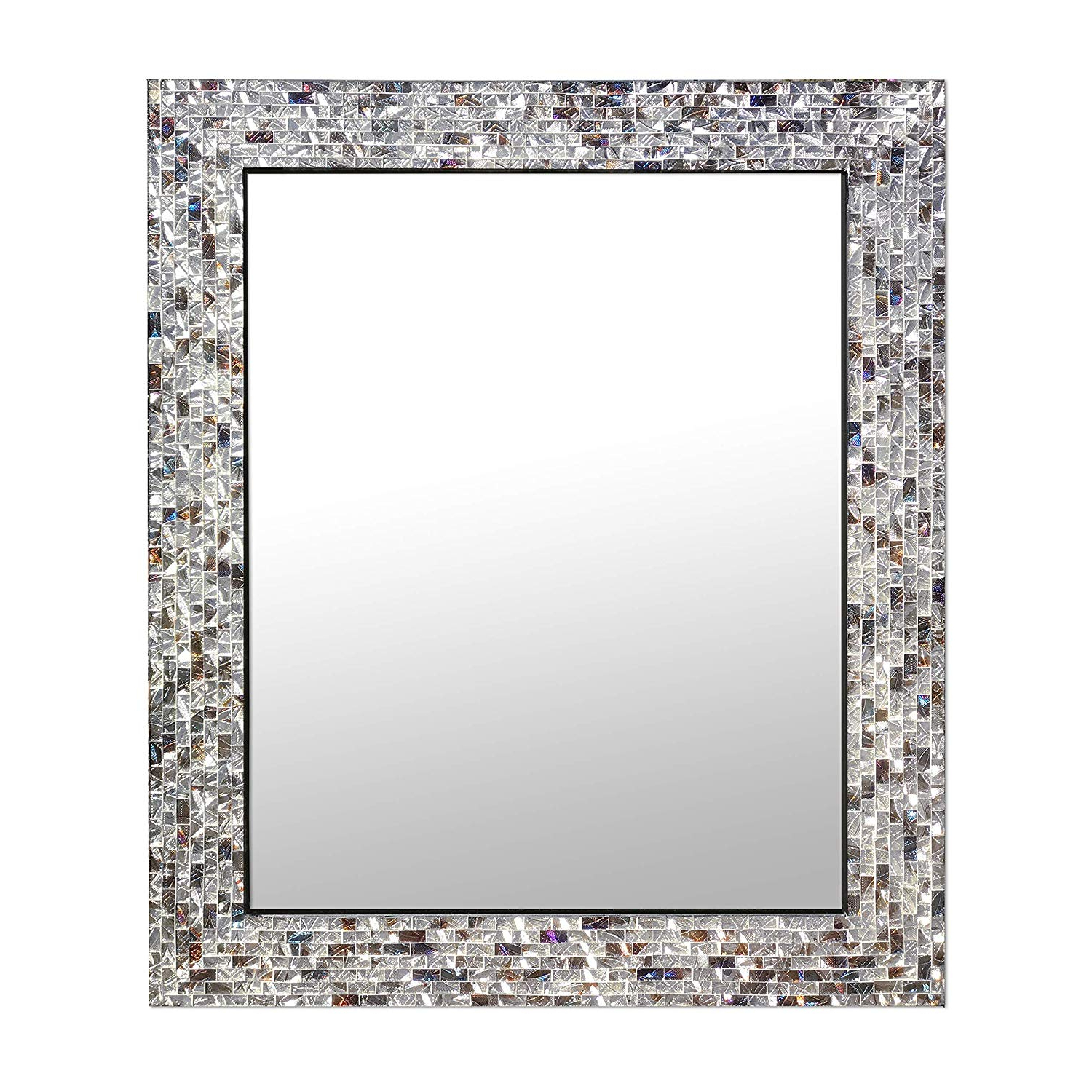 "Trendy Mosaic Framed Wall Mirrors Regarding Multi Colored & Silver, Luxe Mosaic Glass Framed Wall Mirror, Decorative Embossed Mosaic Rectangular Vanity Mirror/accent Mirror (30"" X 24"") (View 2 of 20)"