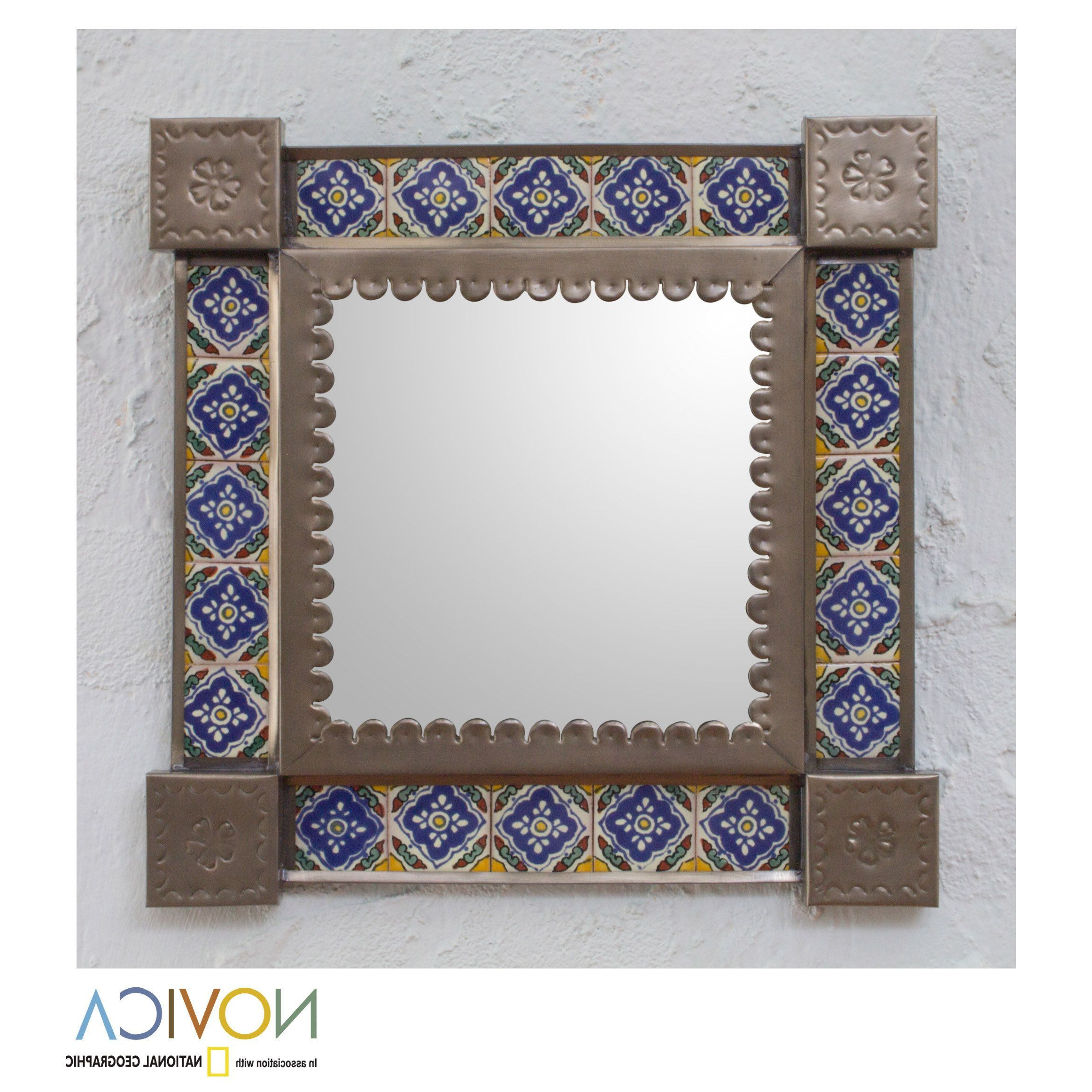 Trendy Novica Handcrafted Tin Ceramic 'mexican Bluebells' Wall With Regard To Mexican Wall Mirrors (View 19 of 20)