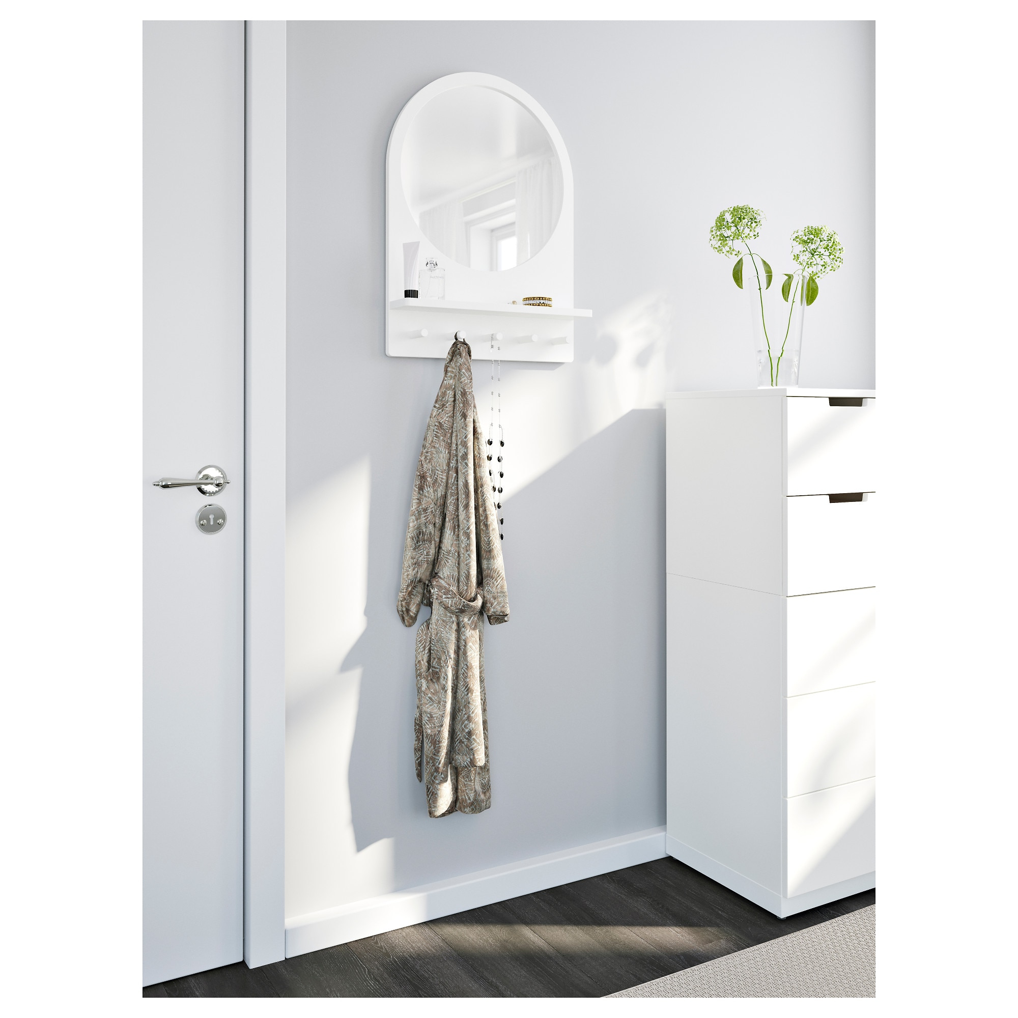 Trendy Saltröd – Mirror With Shelf And Hooks, White Throughout White Wall Mirrors With Hooks (View 12 of 20)