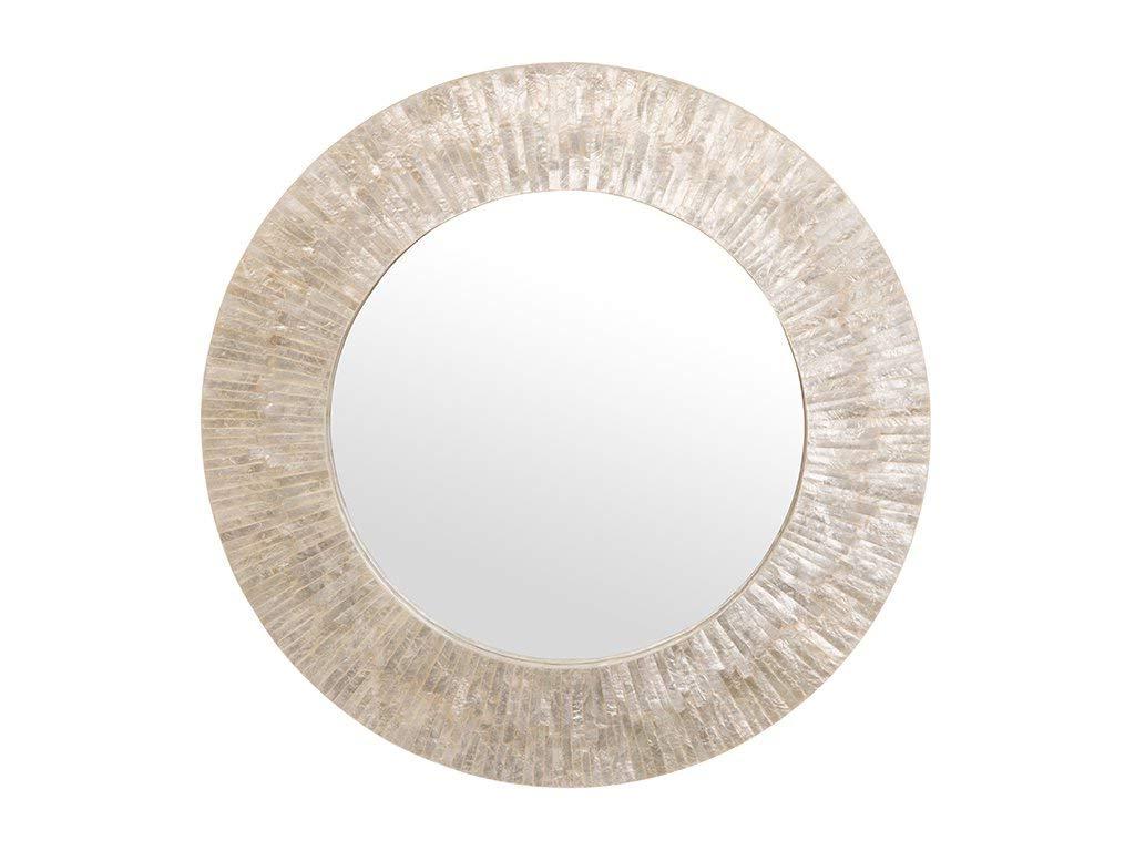 Trendy Seashell Wall Mirrors Regarding Kouboo 1040142 Round Capiz Seashell Sunray Wall Mirror, Pearlescent White (View 18 of 20)