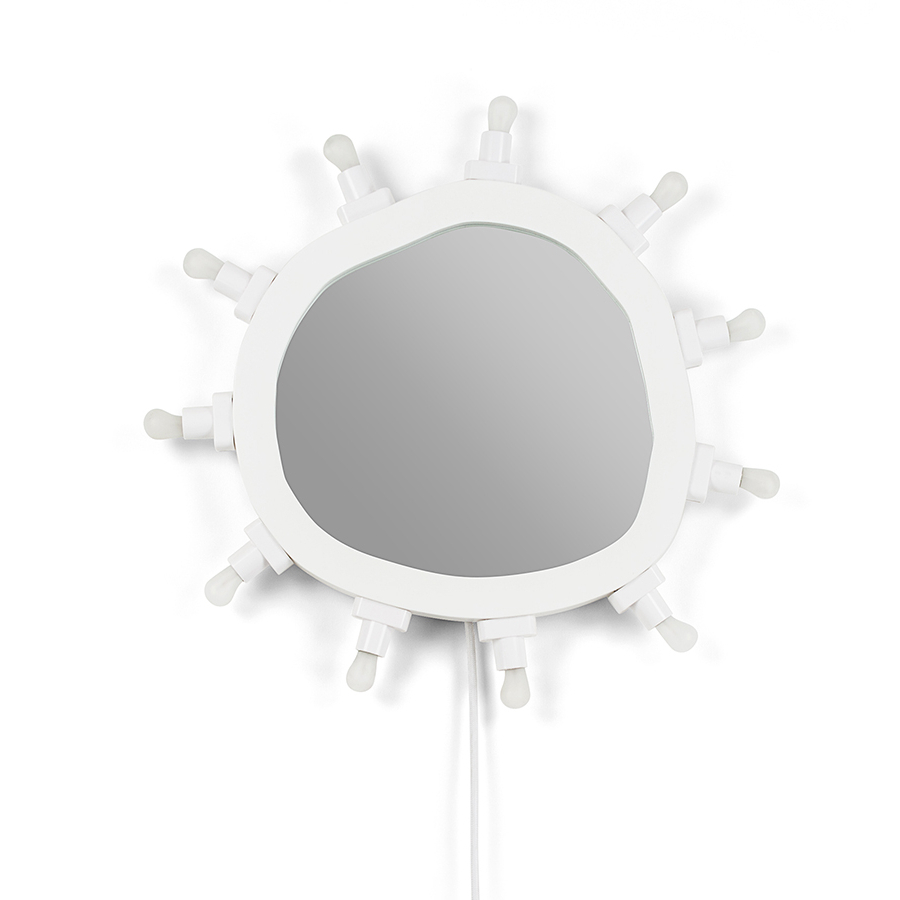 Trendy Seletti Wall Mirror With Lights Luminaire Small (white – Mdf And Glass) With Small White Wall Mirrors (View 7 of 20)