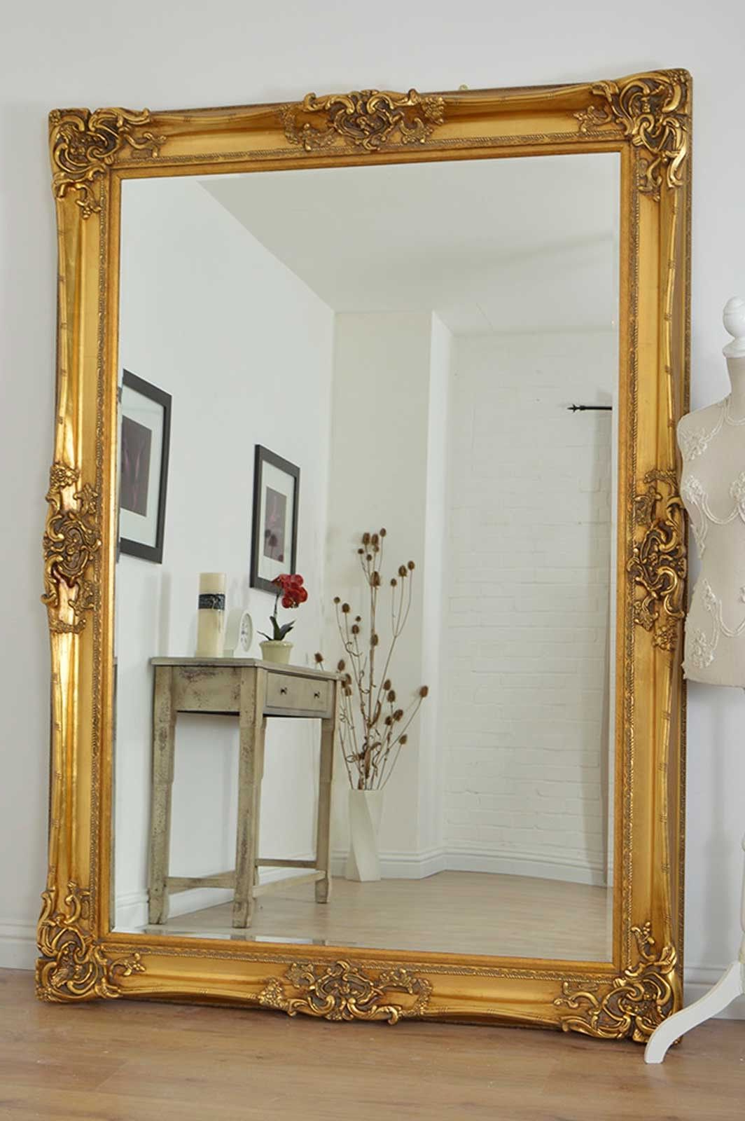 Trendy Standard Wall Mirrors Throughout Large Gold Very Ornate Antique Design Wall Mirror 7Ft X 5Ft (213Cm X (Gallery 11 of 20)