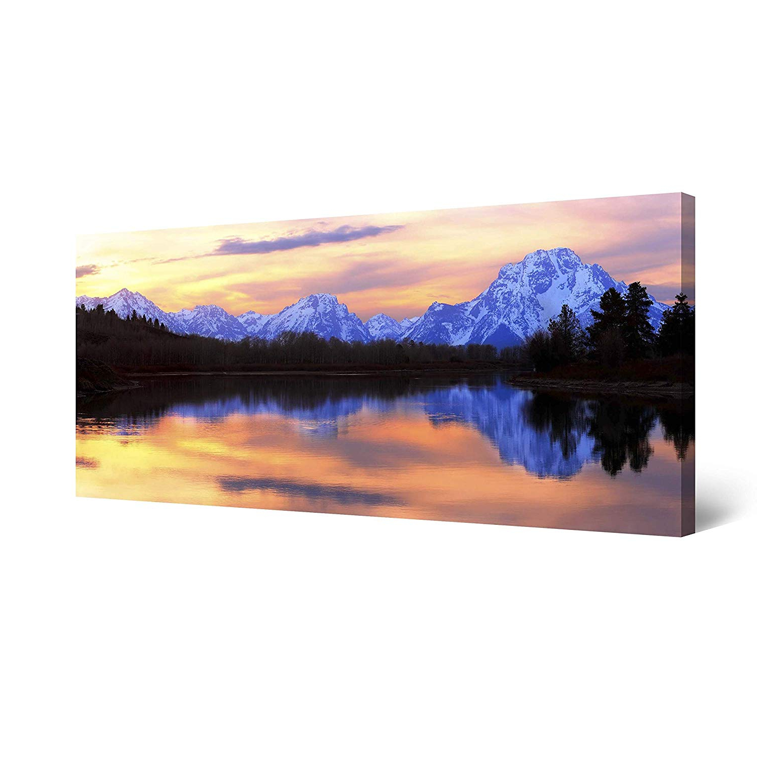 """Trendy Startonight Canvas Wall Art Mountain Mirror, Landscape Framed Wall Decor 24"""" X 48"""" Intended For Landscape Wall Mirrors (View 20 of 20)"""