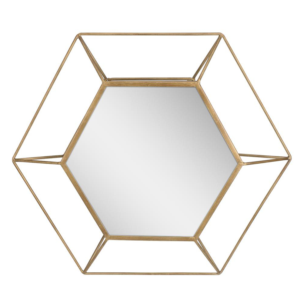 Trendy Stonebriar Collection Hexagon Antique Gold Decorative Mirror For Hexagon Wall Mirrors (View 11 of 20)