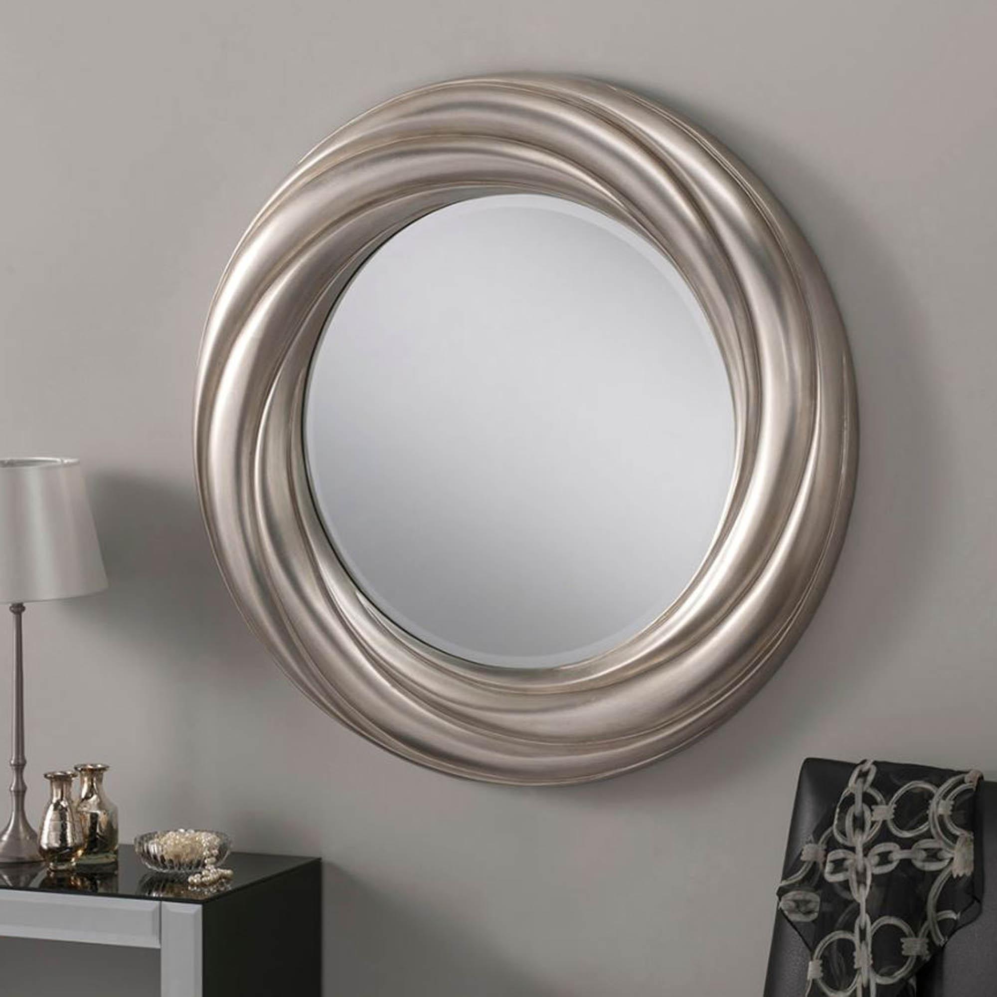 Trendy Swirl Silver Modern Wall Mirror Regarding Swirl Wall Mirrors (View 4 of 20)