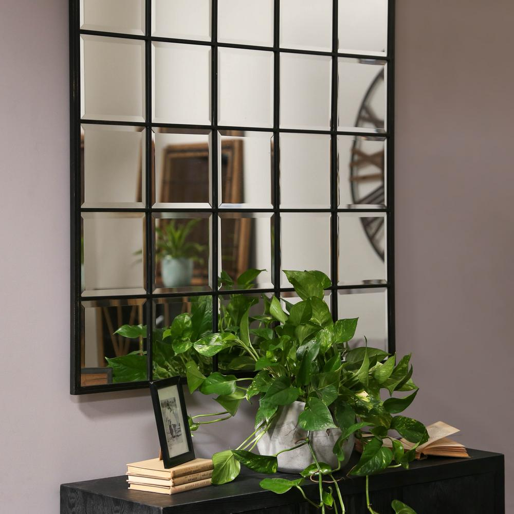 Trendy Urban Trends Collection Square Black Metallic Window Pane Within Window Wall Mirrors (View 18 of 20)