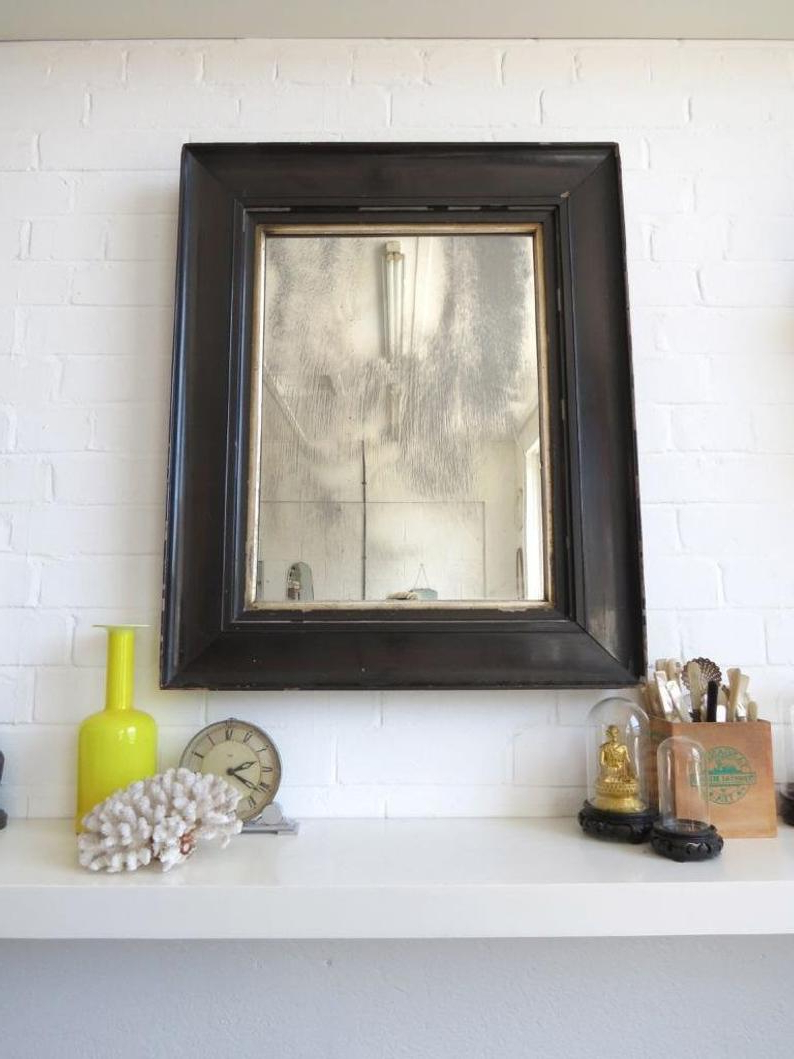 Trendy Vintage Extra Large Victorian Bevelled Edge Wall Mirror With Black Wooden Frame Within Extra Large Wall Mirrors (Gallery 18 of 20)