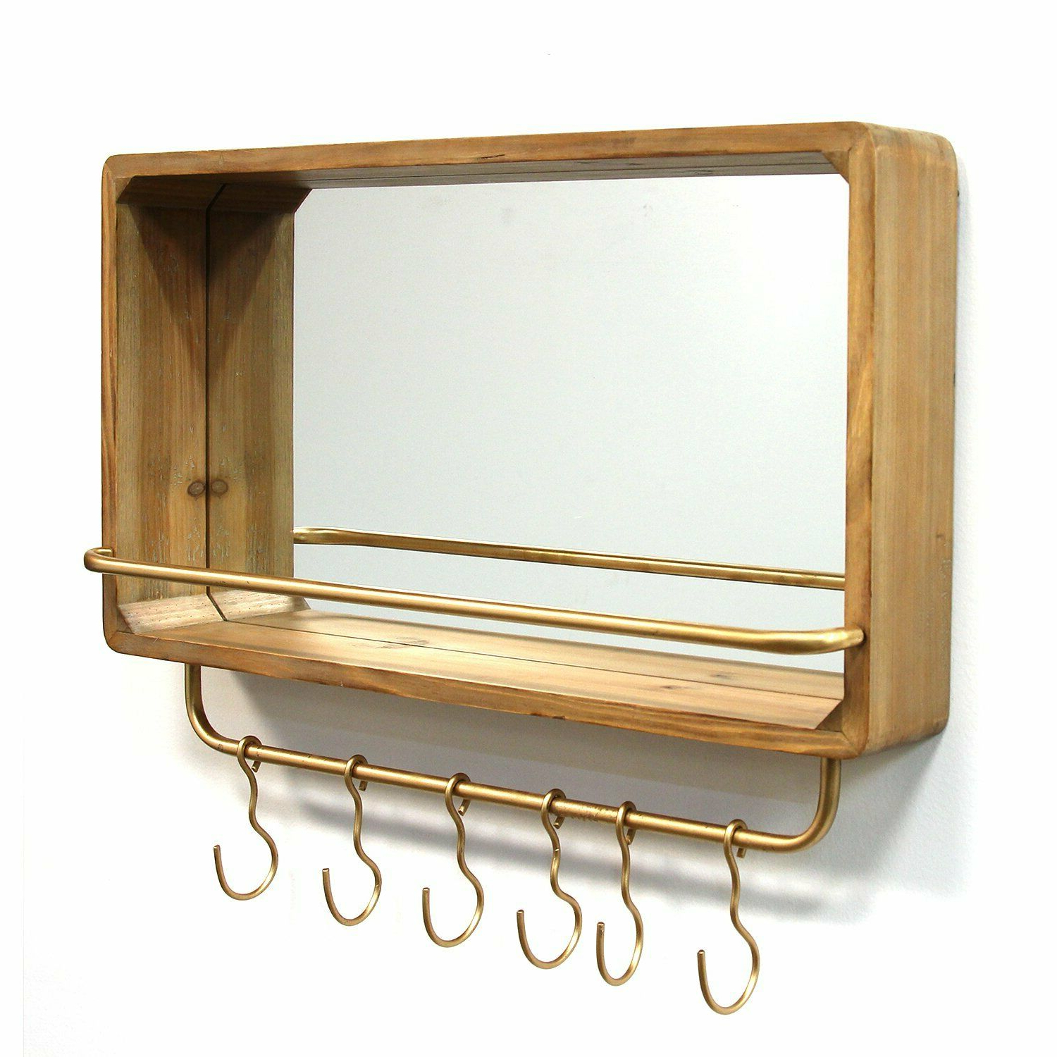 Trendy Wall Mirrors With Shelf And Hooks With Regard To Details About Wood Mirror With Shelf & Hooks Hanging Interior Wall Art Home  Decor (View 13 of 20)