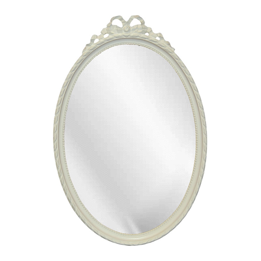 Trendy White Oval Wall Mirrors Pertaining To Hickory Manor House Beaded Bow Bright White Beveled Oval Wall Mirror (View 9 of 20)