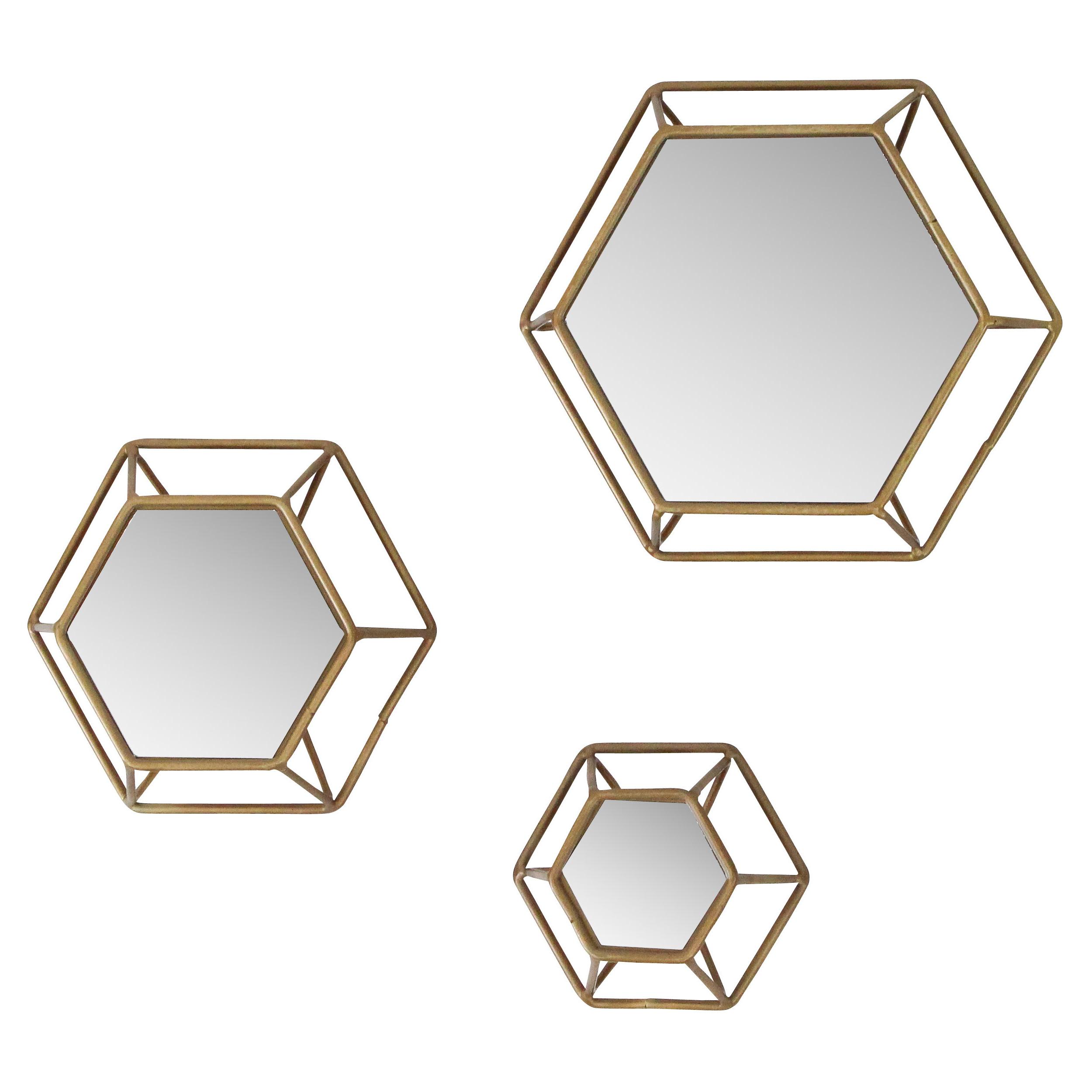 Trendy Yahoue 3 Piece Hexagonal Wall Mirror Set Throughout Gia Hexagon Accent Mirrors (View 7 of 20)
