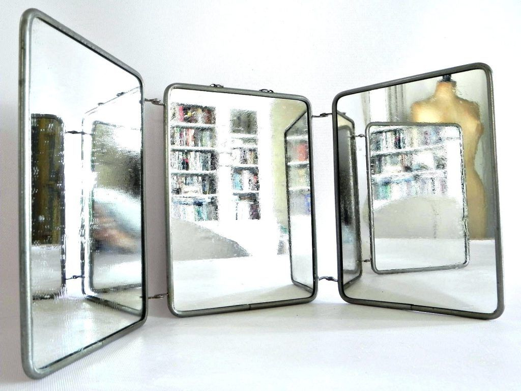 Tri Fold Wall Mirrors Inside 2020 Wall Mirrors: Tri Fold Wall Mounted Mirror Tri Fold Wall (View 15 of 20)