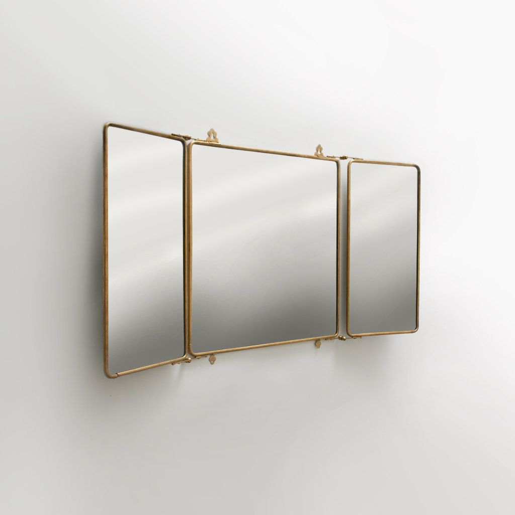 Tri Fold Wall Mirrors Throughout Current Daphne Metal Rectangular Wall Mounted Trifold Mirror 42 3/ (View 16 of 20)