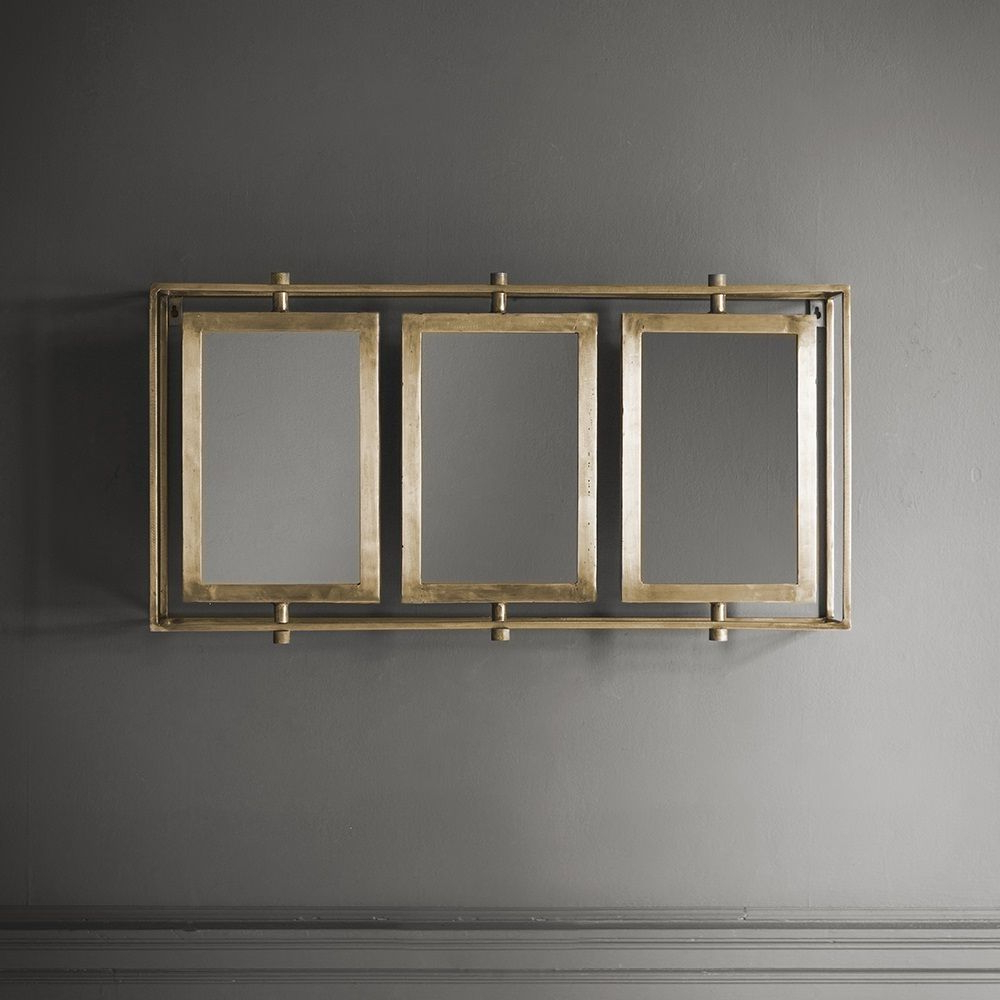 Tribeca Triple Wall Mirror In Brass Regarding Newest Wall Mirrors With Light (View 17 of 20)