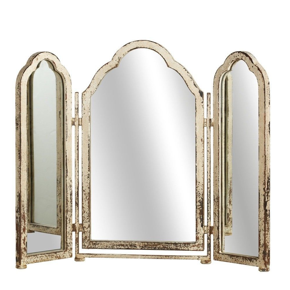 Triple Arched Wall Mirror Distressed White Metal Vanity For Famous Triple Wall Mirrors (View 14 of 20)