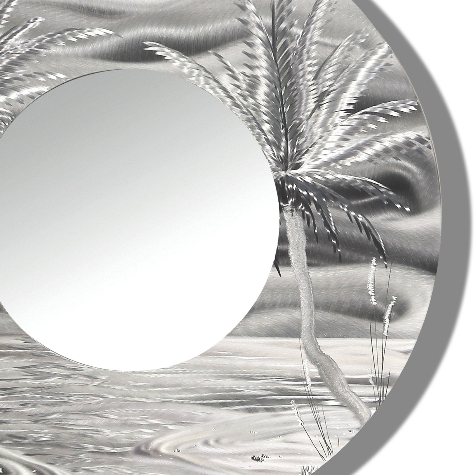 Tropical Wall Mirrors Throughout Current Mirror 106 – Modern Tropical Metal Wall Mirror – Silver Abstract Palm Tree Metal Accent Art (View 2 of 20)