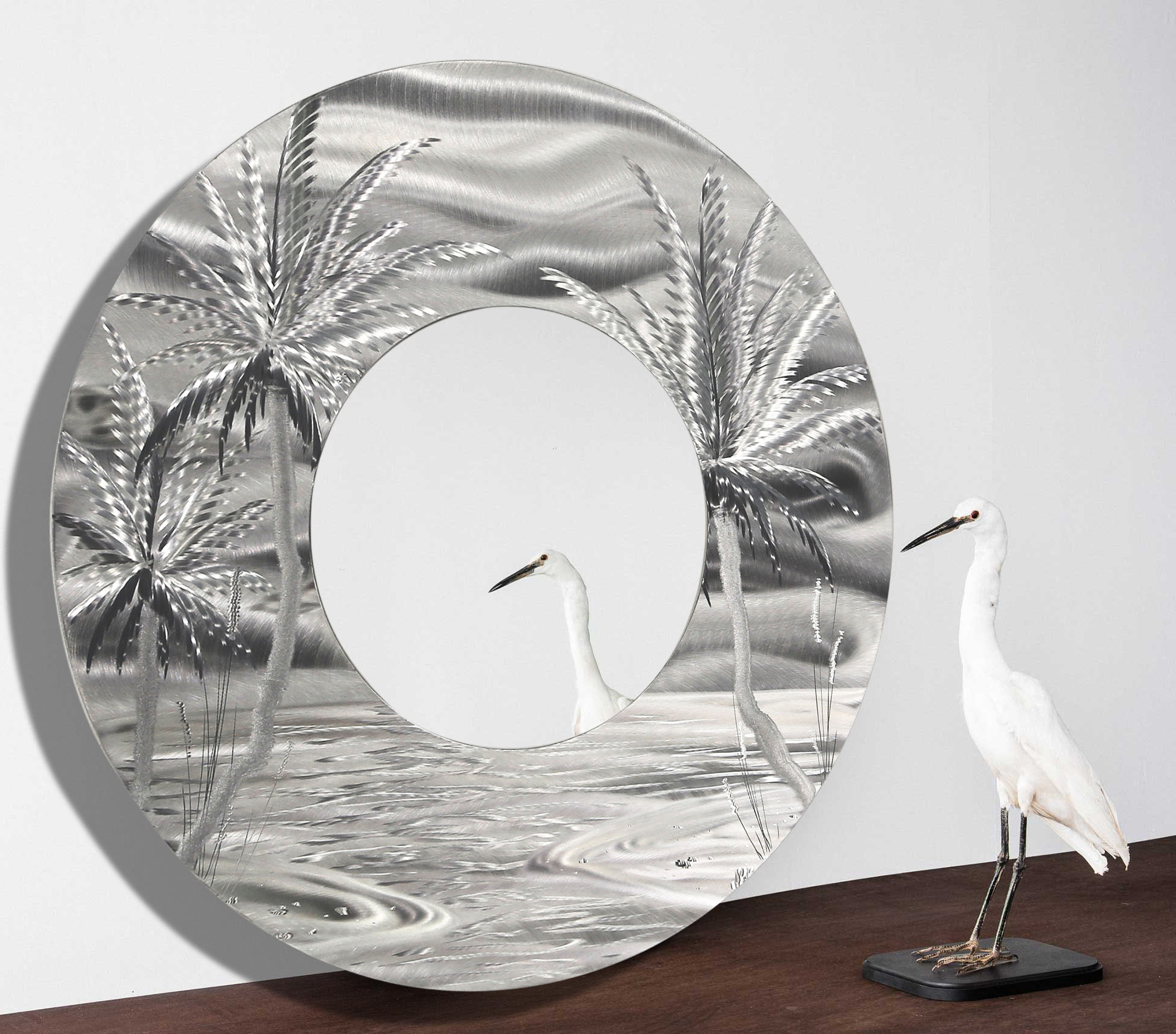 Tropical Wall Mirrors Within Most Up To Date Mirror 106 – Modern Tropical Metal Wall Mirror – Silver Abstract Palm Tree Metal Accent Art (View 12 of 20)