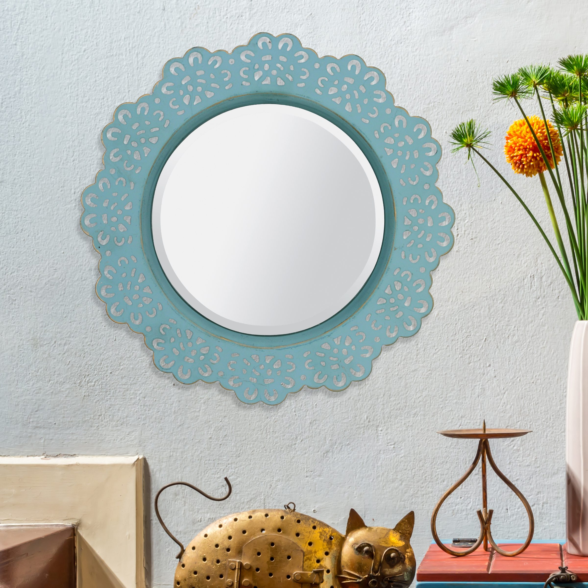 Turquoise Metal Lace Wall Mirror – Throughout Most Up To Date Turquoise Wall Mirrors (View 10 of 20)