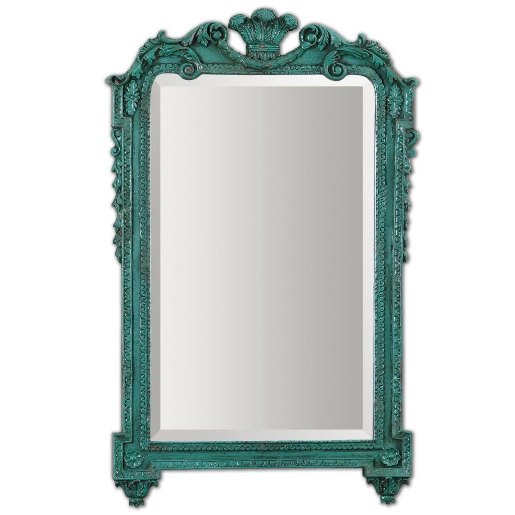 """Turquoise Wall Mirrors Intended For Most Up To Date Stunning 32"""" Ornate Turquoise Wall Mirror: Amazon.co (View 13 of 20)"""