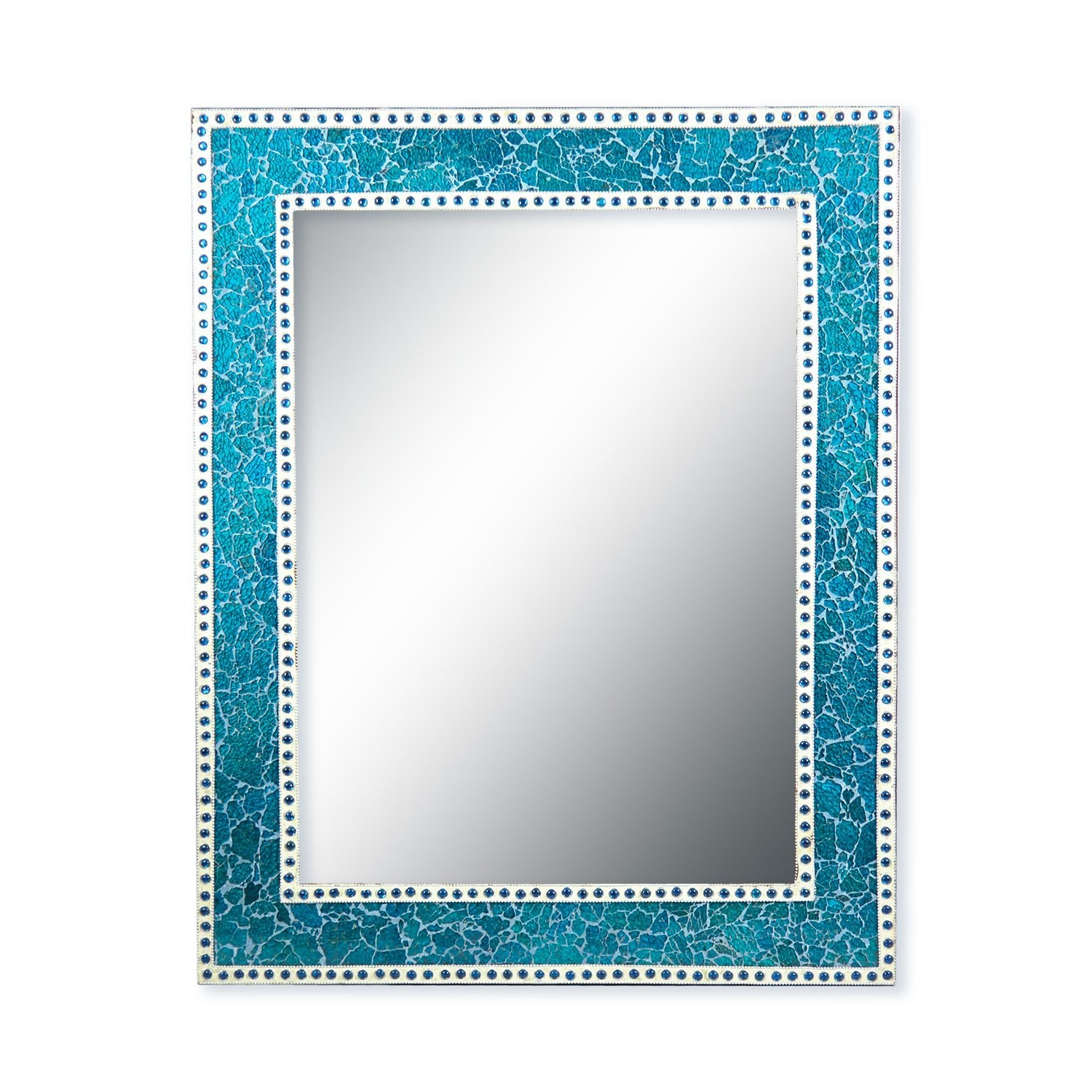 Turquoise Wall Mirrors With Regard To 2019 Decorshore 30X24 Inch Turquoise Crackled Glass Decorative Rectangular Wall  Mirror, Handmade Mosaic Glass Tile Framed Glamorous Vanity/accent Mirror (View 15 of 20)