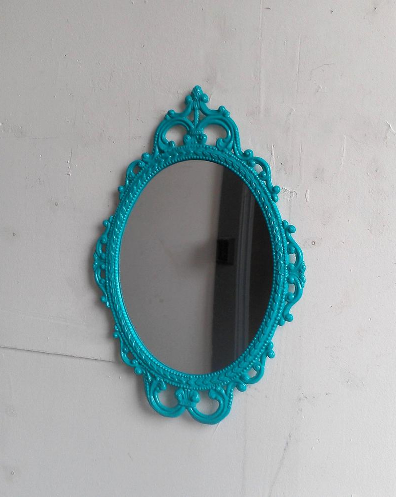 Turquoise Wall Mirrors With Widely Used Turquoise Wall Decor Mirror In Vintage Oval Metal Frame, Home Accents,  Apartment, Beach Home Decor, Gallery Wall , Boy Nursery (View 16 of 20)