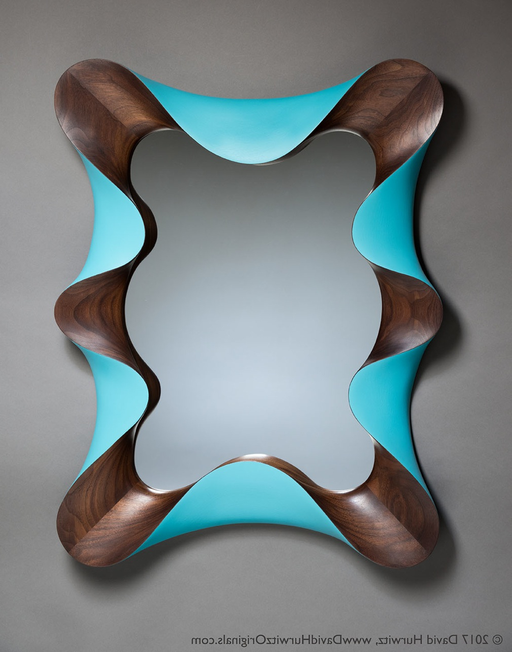 Turquoise Wall Mirrors Within Best And Newest Modern Wall Mirror, Walnut, Turquoise, Hand Painted, Carved Wood (View 17 of 20)