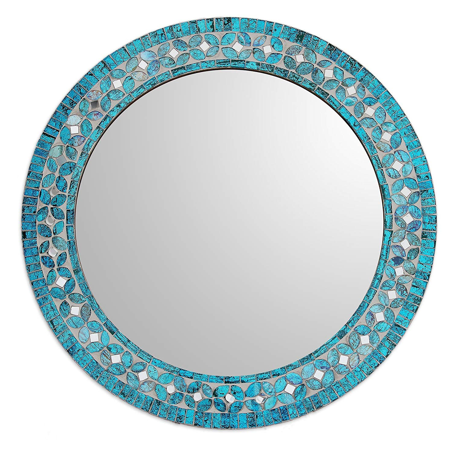 Turquoise Wall Mirrors Within Best And Newest Novica Mi0043 Turquoise Blossom' Glass Mosaic Wall Mirror (View 18 of 20)