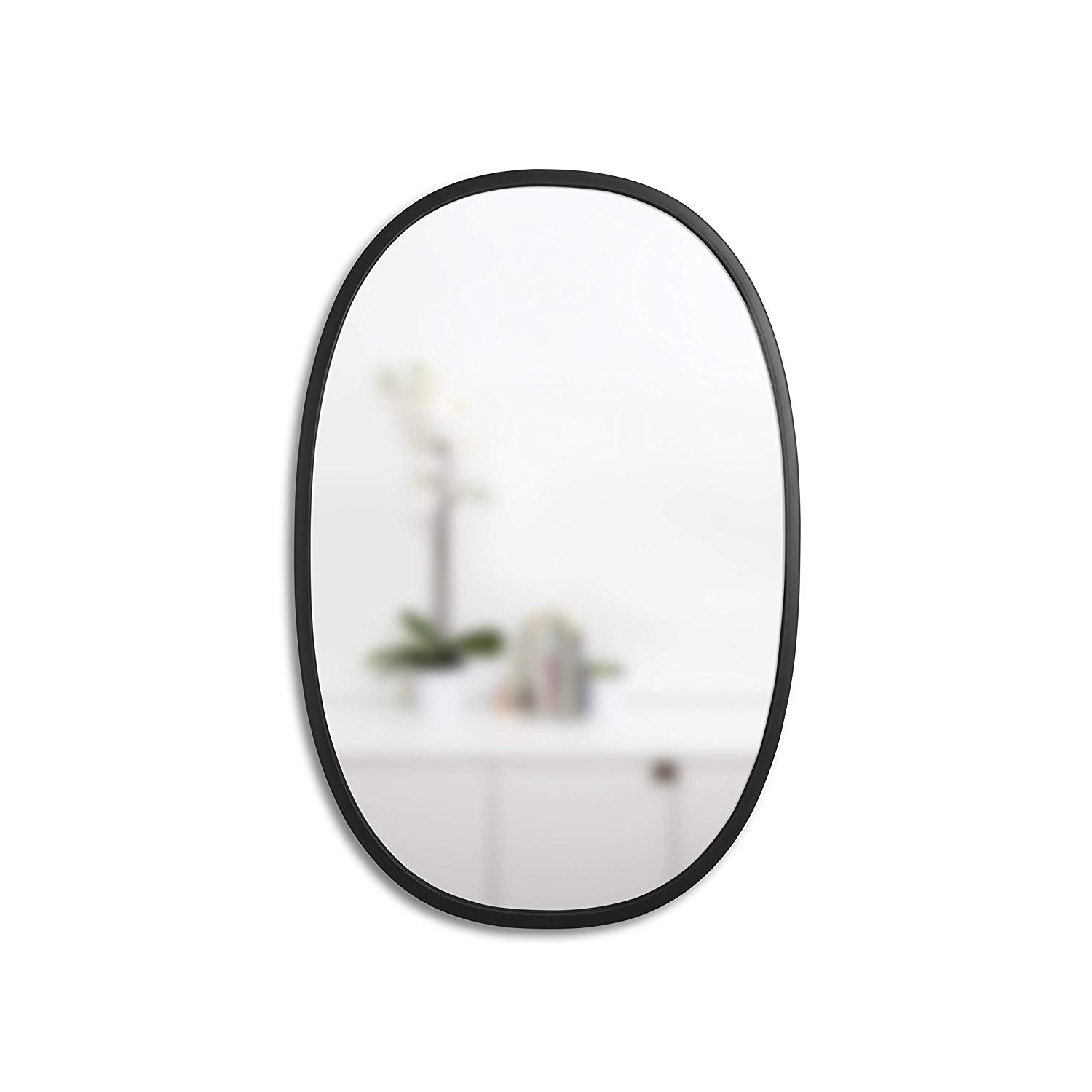 "Umbra Hub 24 X 36"" Oval Wall Mirror With Rubber Frame, Modern Room Decor For Entryways, Washrooms, Living Rooms And More, Black With Fashionable White Oval Wall Mirrors (View 15 of 20)"